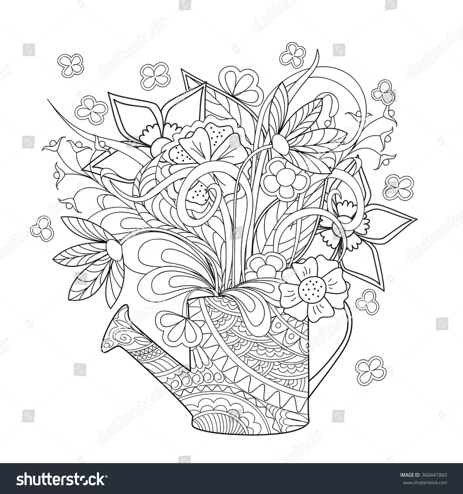 Hand Drawn Decorated Image Watering Can Stock Vector ...