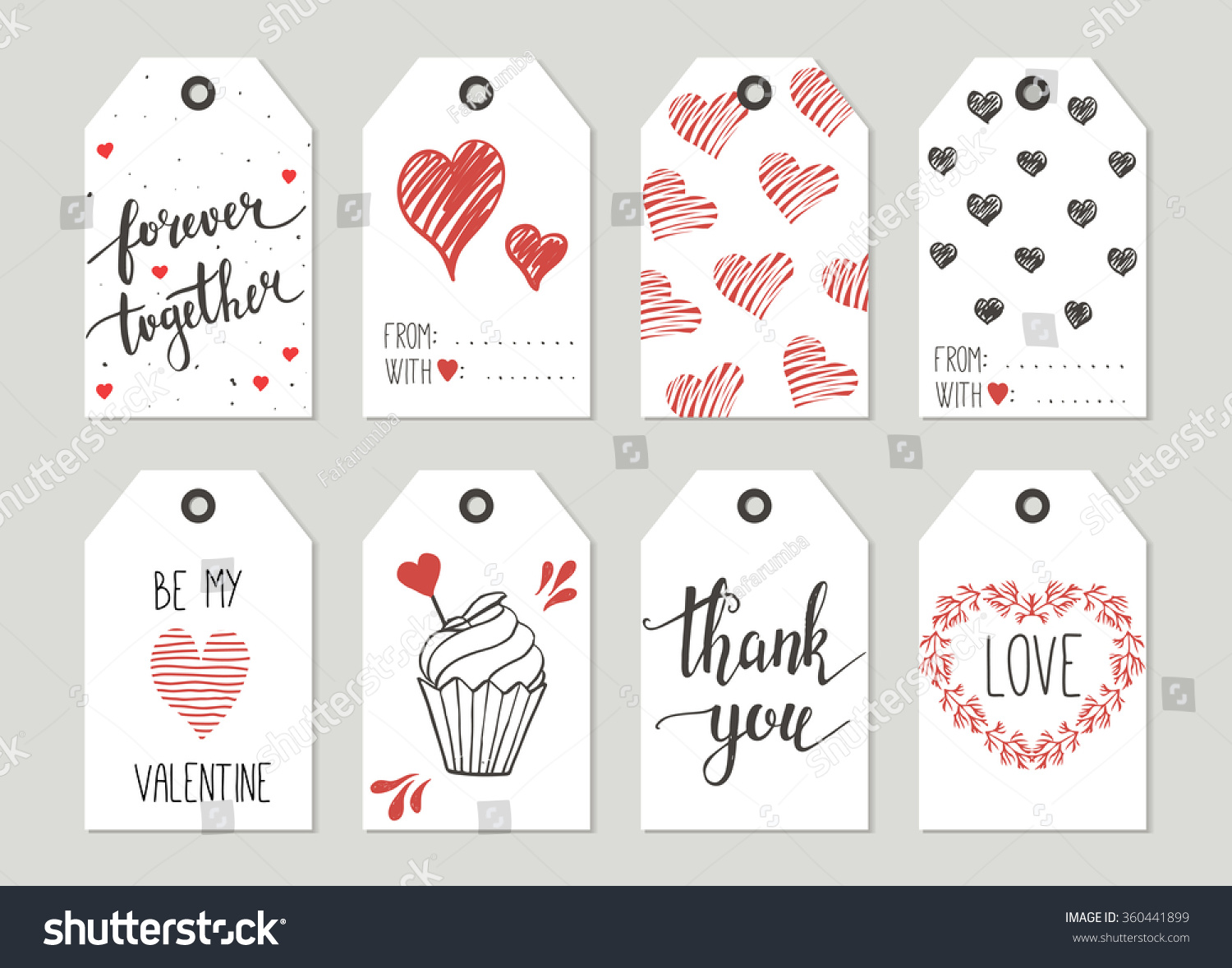 Valentines Day Gift Tags Set Stickers Stock Vector Royalty Free