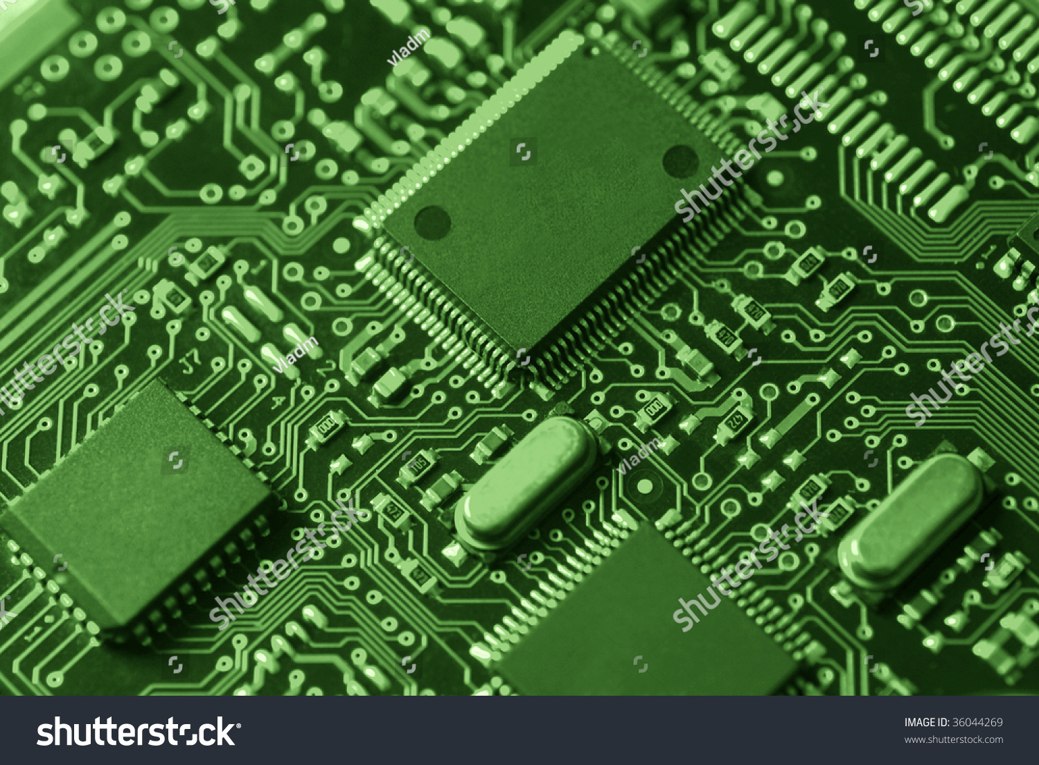 Green High Tech Mother Board Chip Stock Photo 36044269 ...