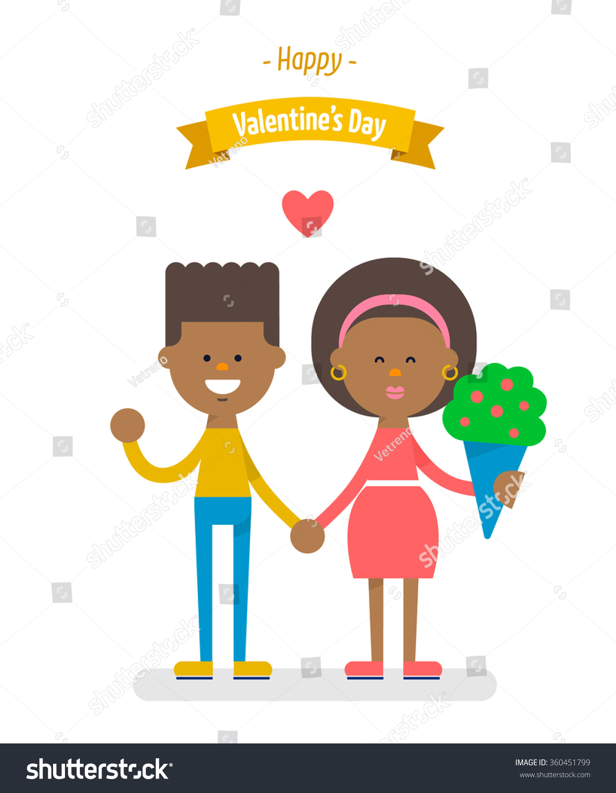 Cute African American Couple Holding Hands Stock Vector 360451799
