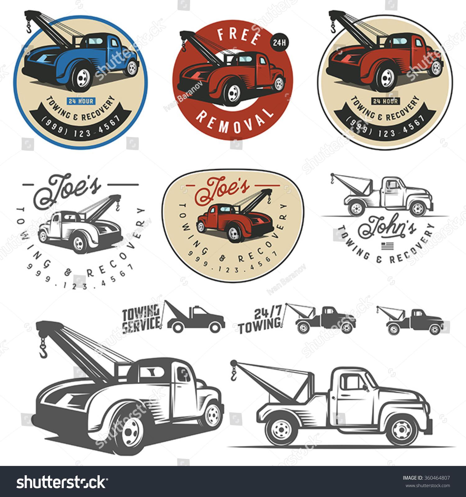 Design car emblem - Vintage Car Tow Truck Emblems Labels And Design Elements