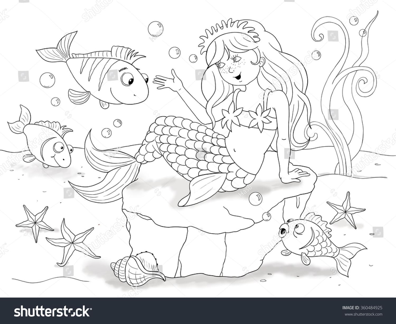 Little Mermaid Fairy Tale Illustration Children Stock Illustration ...