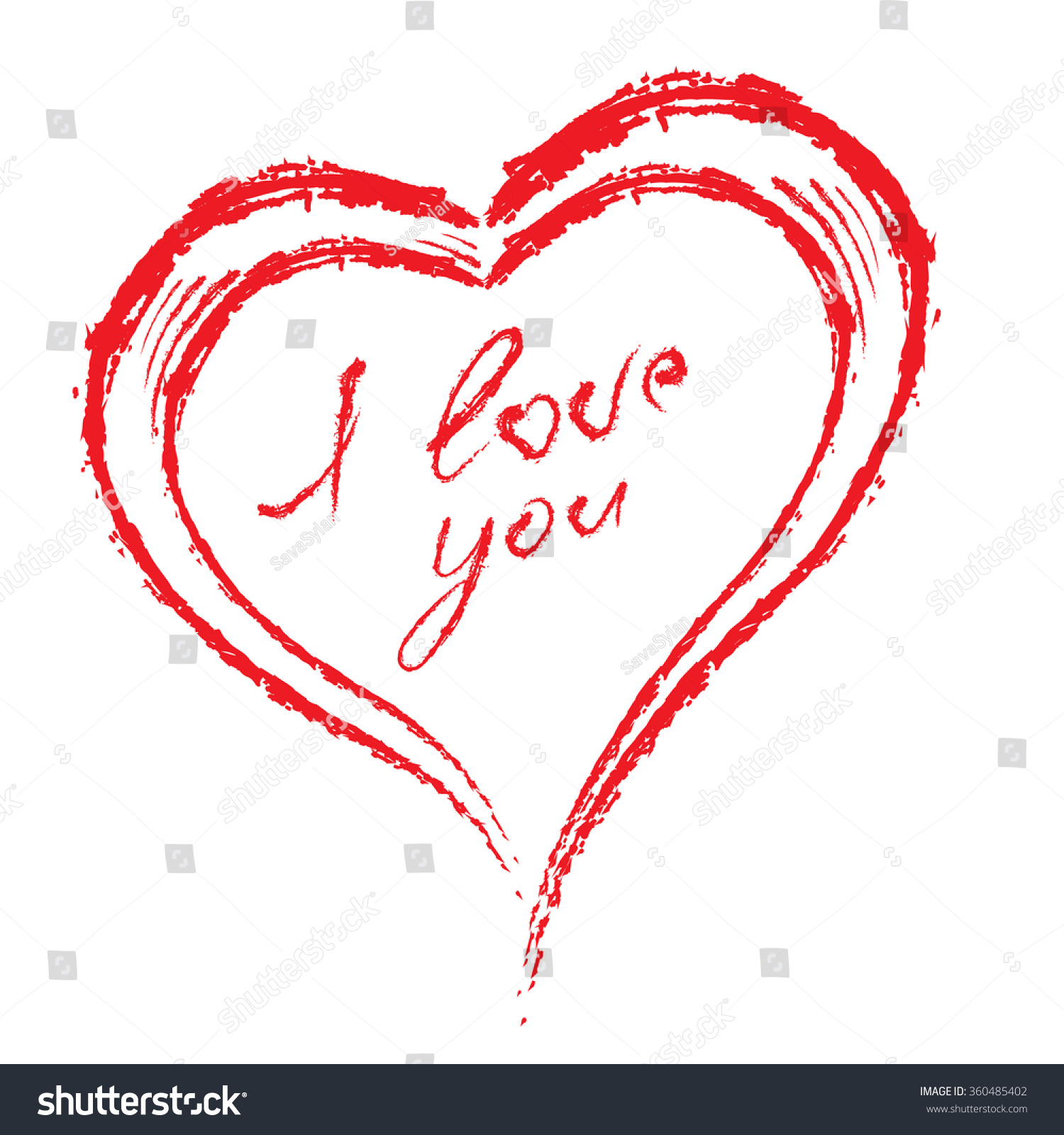 Brush Drawing Calligraphy Vector Heart Love Symbols
