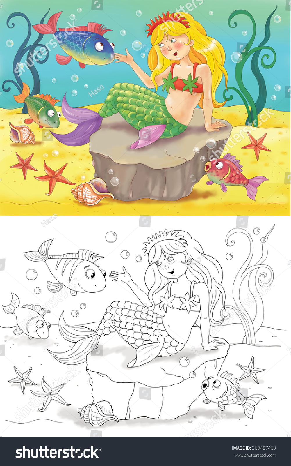 Little Mermaid Fairy Tale Illustration Children Stock Illustration ...