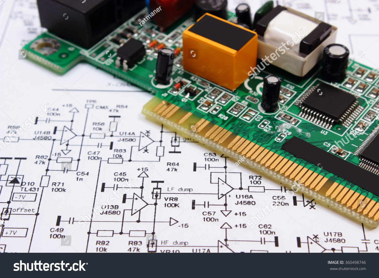 Printed Circuit Board Electrical Components Lying Stock Photo Edit Construction Drawing Of Electronics Drawings And Precision Tools For With On Engineer