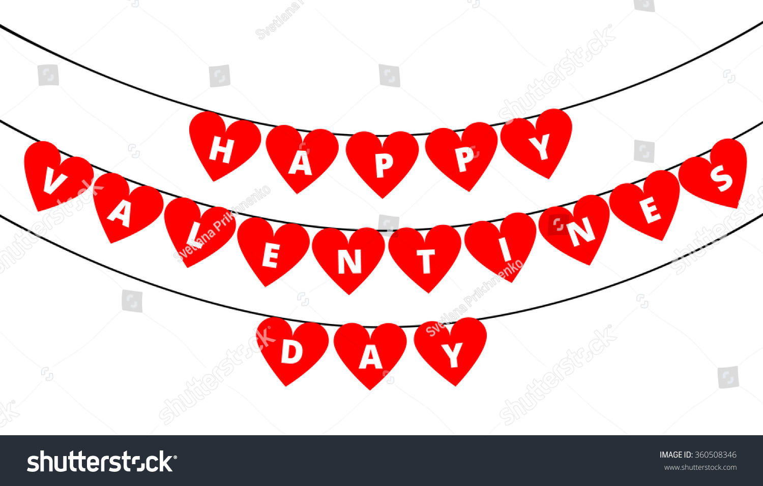 Bunting Decoration Valentines Day Red Hearts Stock Vector Royalty