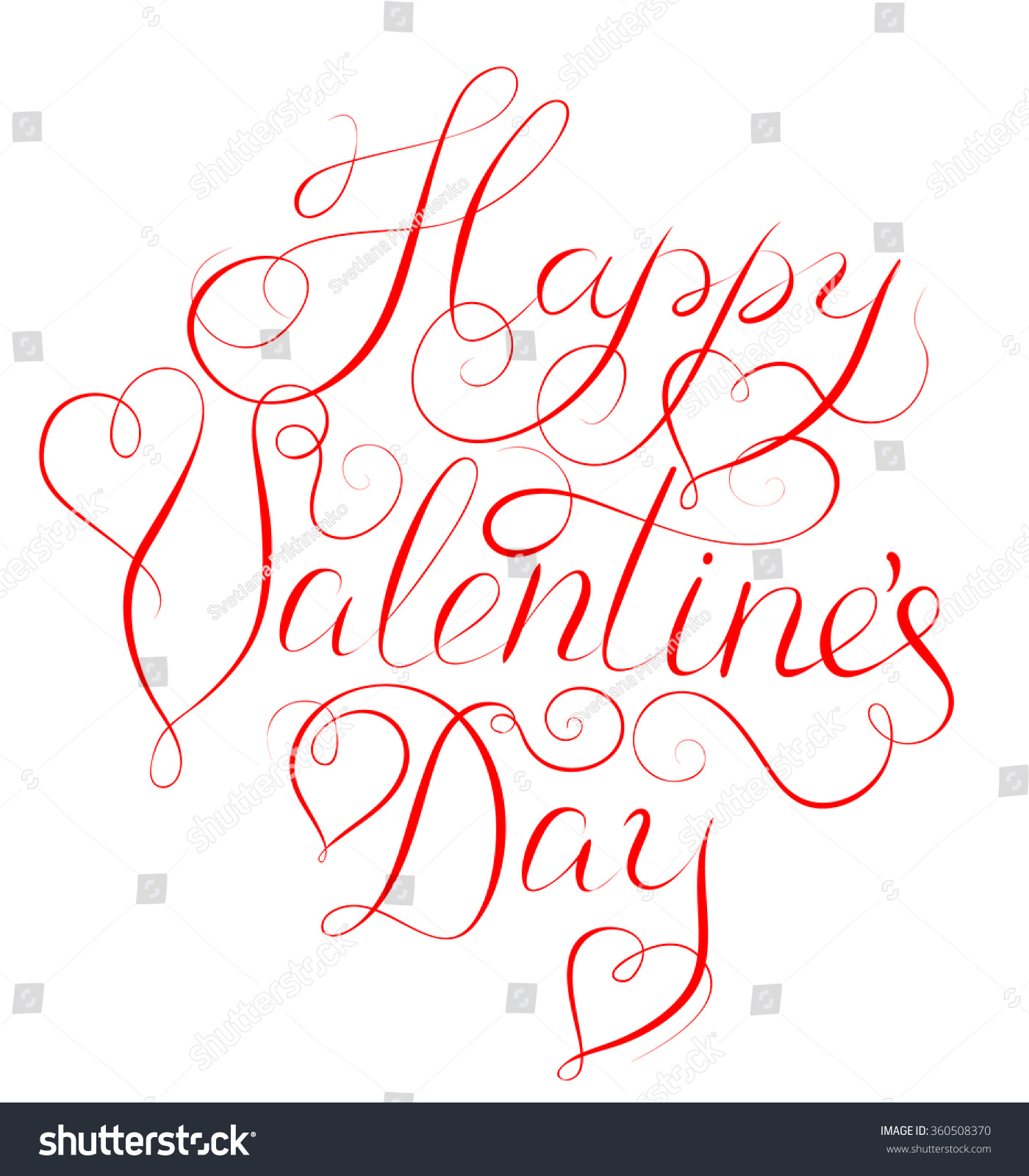 Happy Valentines Day Calligraphy Lettering Valentines Stock Vector