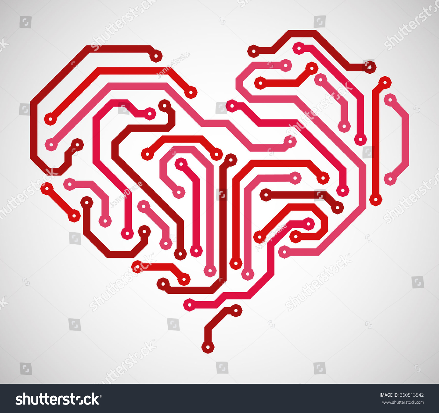 Abstract Heart Made Printed Circuit Board Stock Vector (Royalty Free