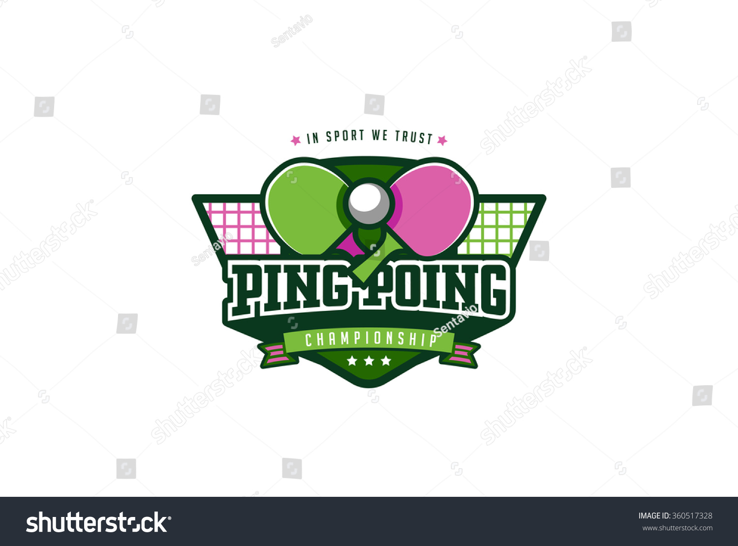 ping pong sport badge label logo stock vector 360517328