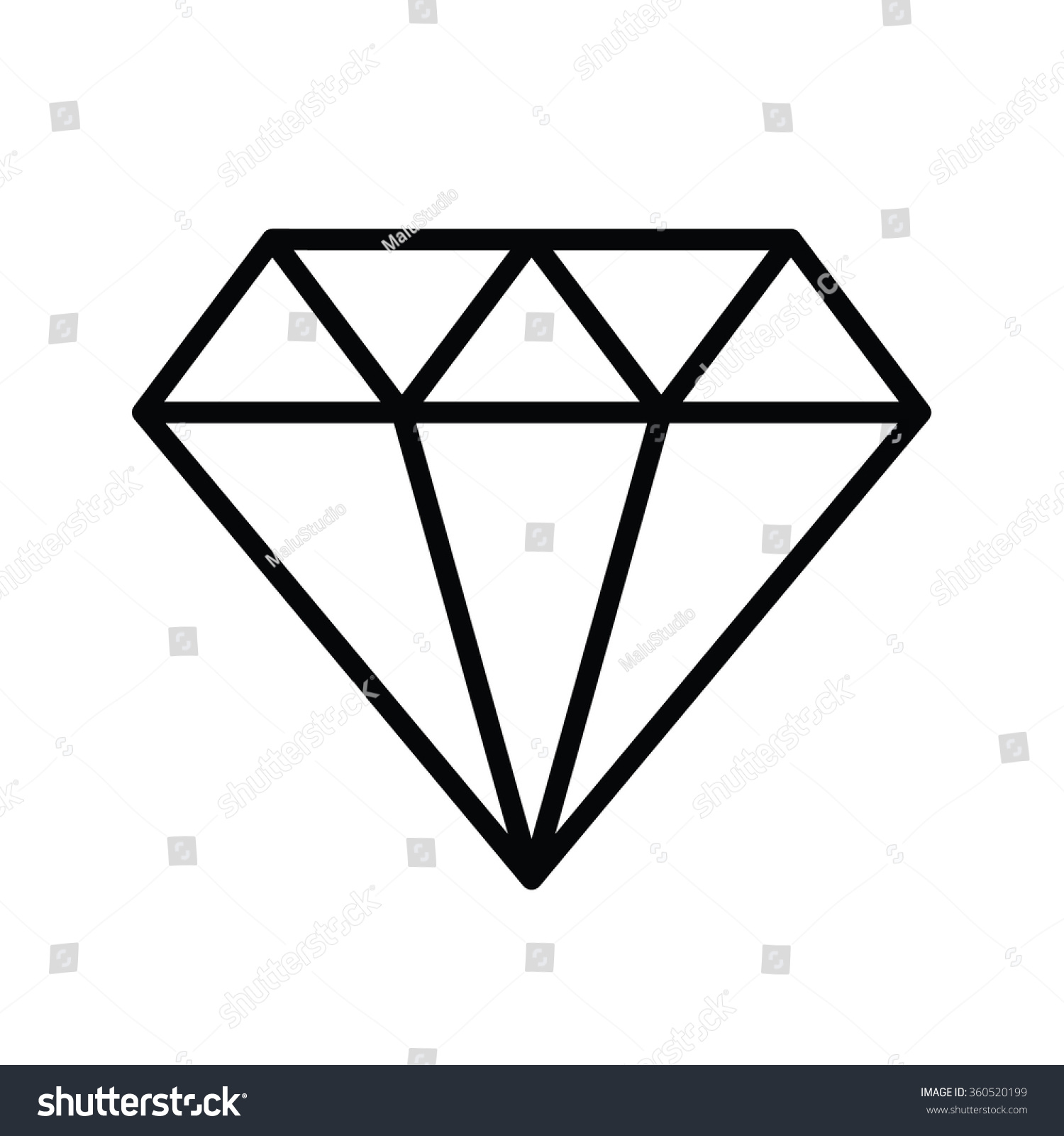 Diamond Outline Icon Vector Illustration Stock Vector ...