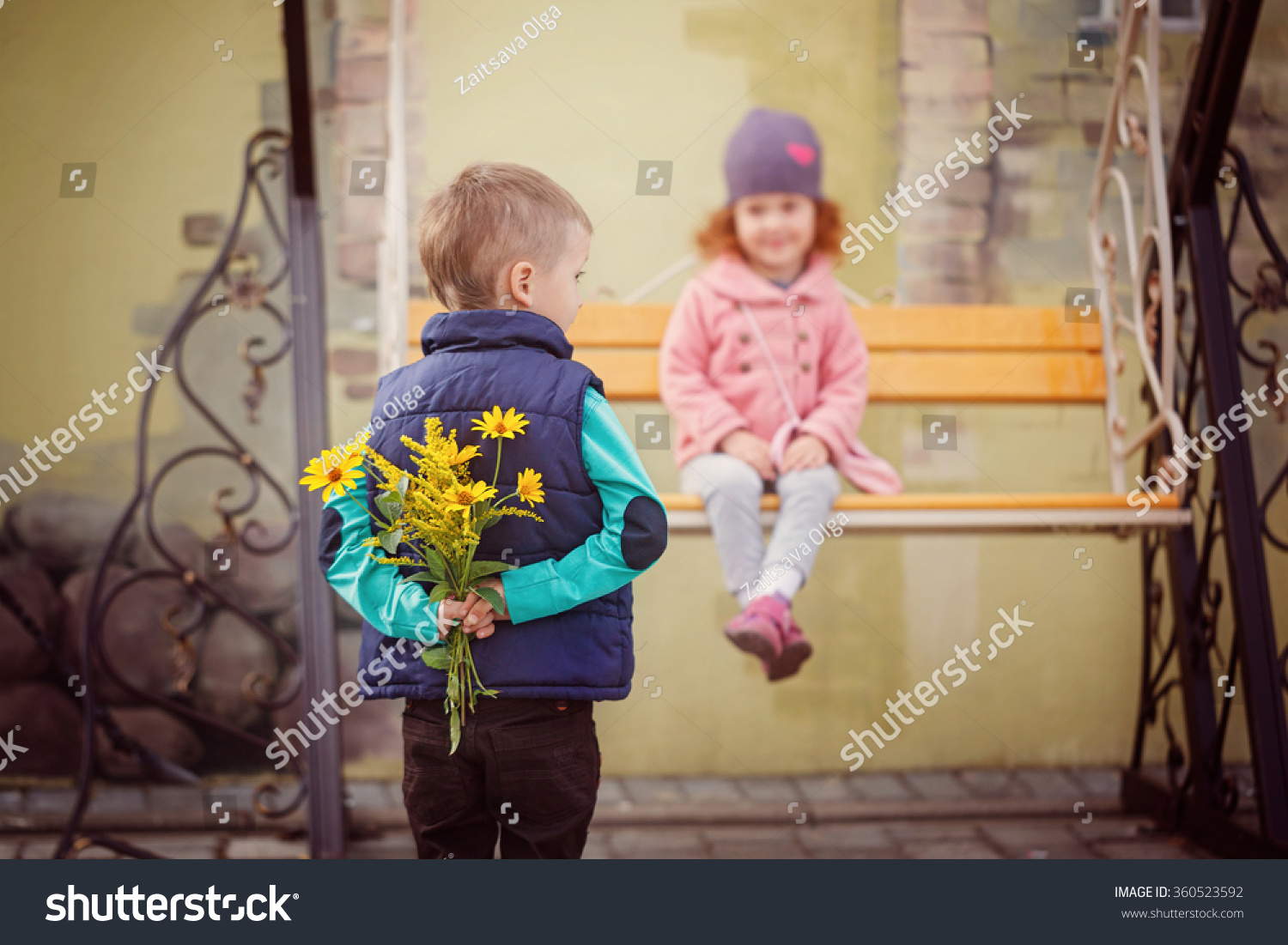 sweet little girl cute boy have stock photo (royalty free) 360523592