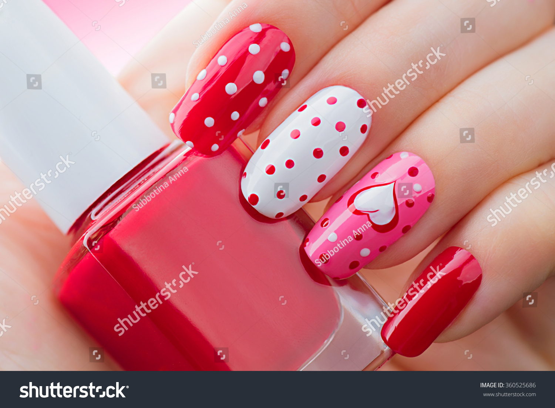 Valentine Nail Art Manicure Valentines Day Stock Photo Edit Now