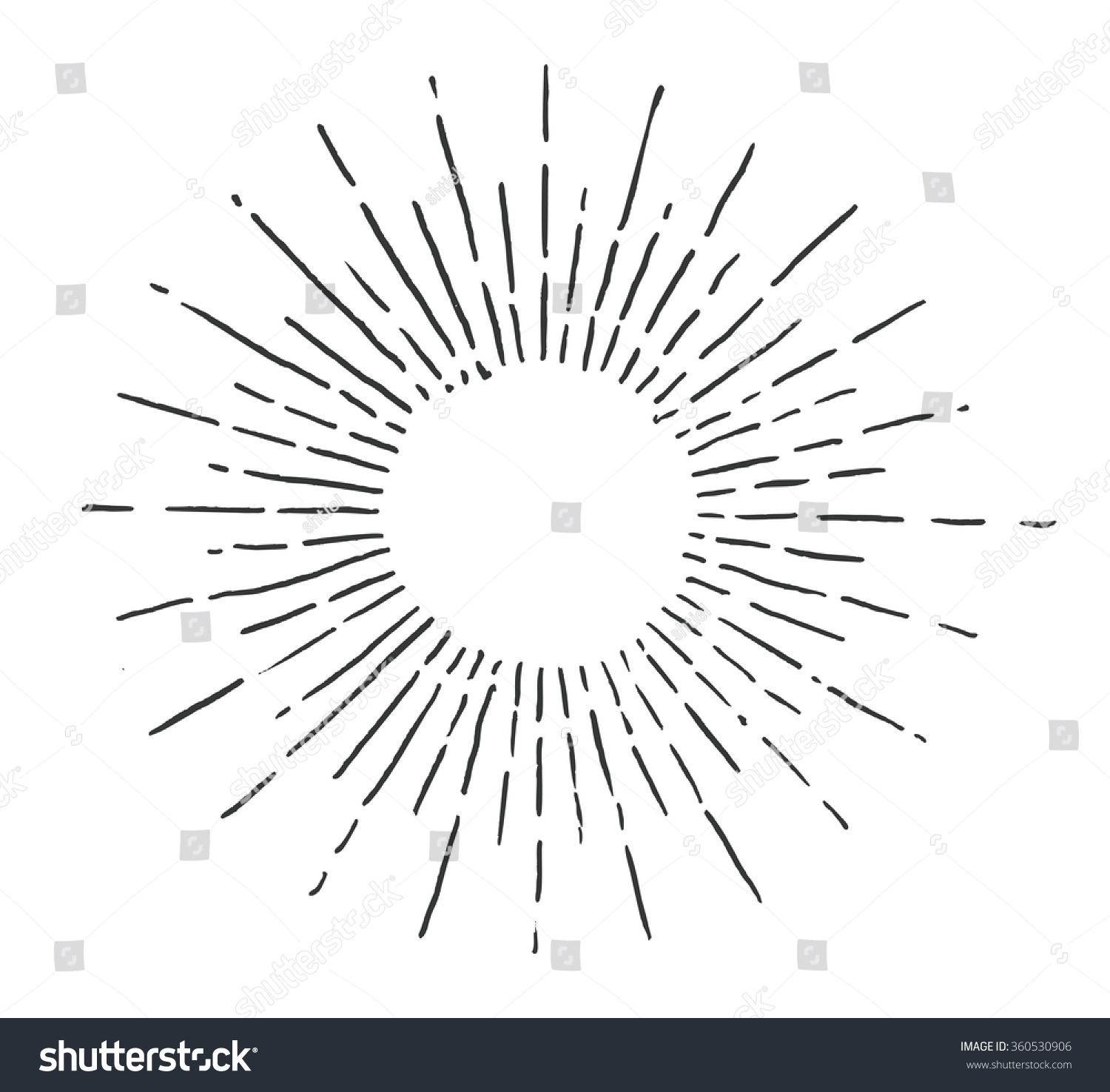 Linear Drawing Sun Vintage Style Image Stock Vector 360530906 ... for Vector Light Rays Vintage  173lyp