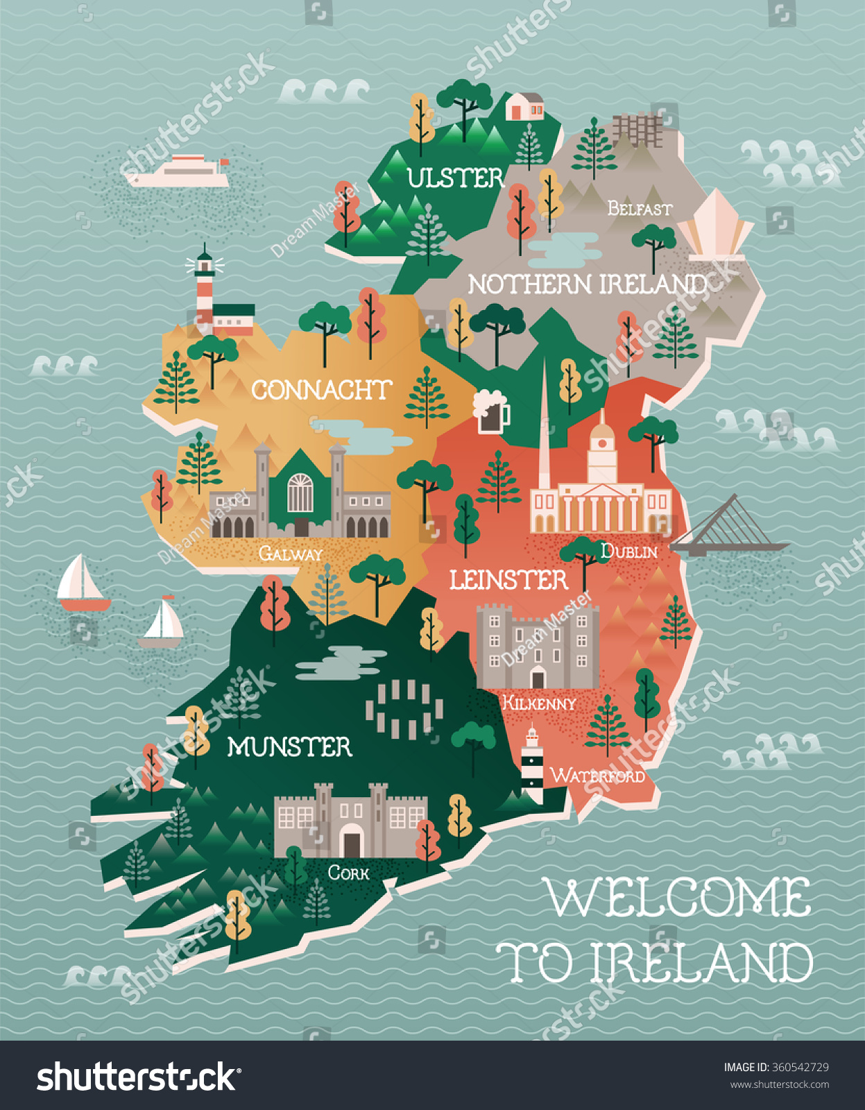 Map Of Ireland Poster.Travel Map Ireland Landmarks Cities Stock Vector Royalty Free