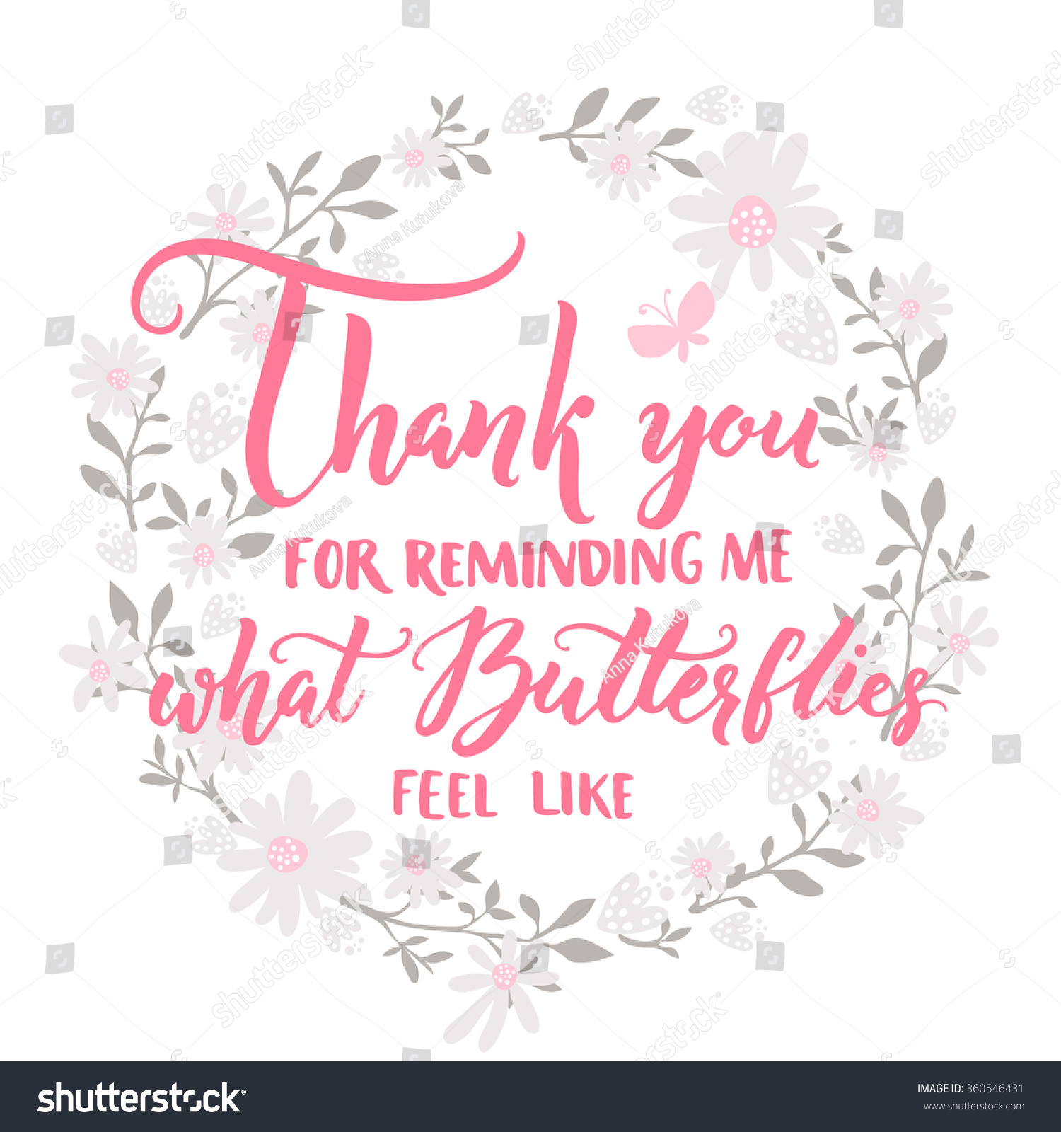 Valentine Thanks Quotes: Thank You Reminding Me What Butterflies Stock Vector