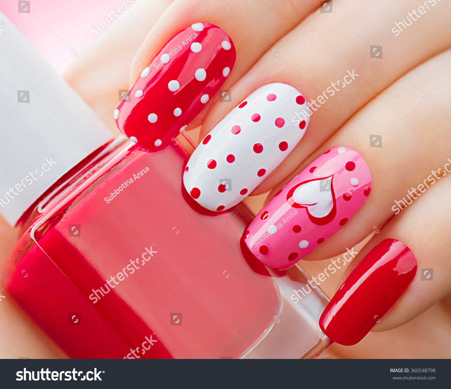 Valentine Nail Art Manicure Valentines Day Stock Photo (Edit Now ...