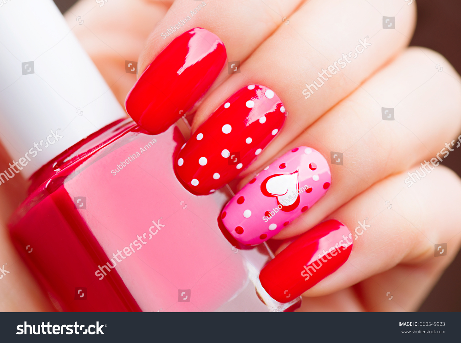 valentine nail art manicure valentines day stock photo. Black Bedroom Furniture Sets. Home Design Ideas