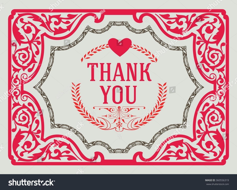 thank you vintage greeting card design template thank you card love heart thank you. Black Bedroom Furniture Sets. Home Design Ideas