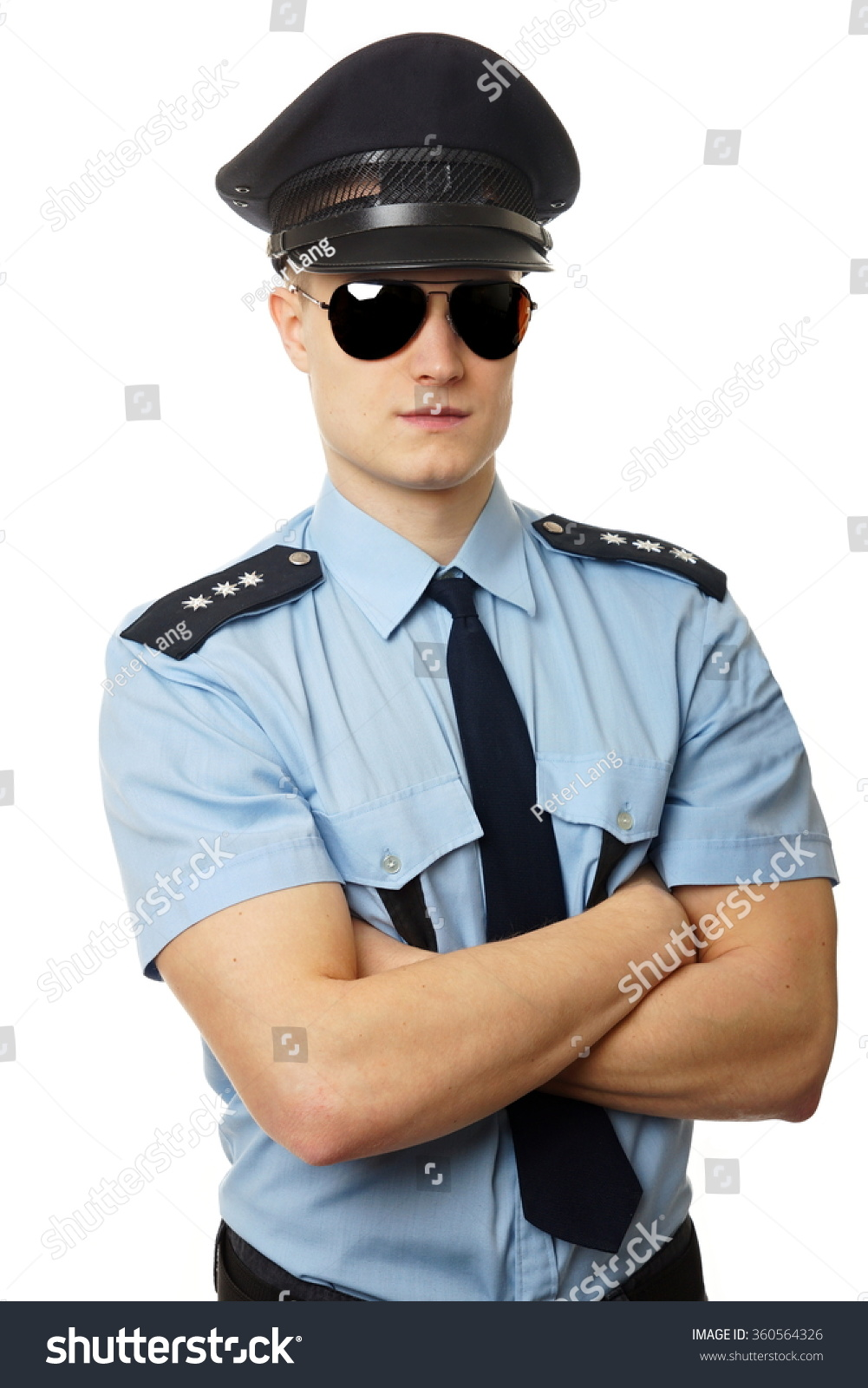 portrait young policeman uniform sunglasses stock photo 360564326