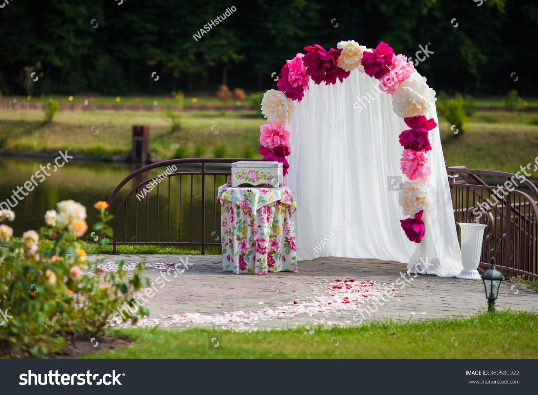 Romantic White Wedding Aisle Archway Rose Stock Photo 360580922 ...