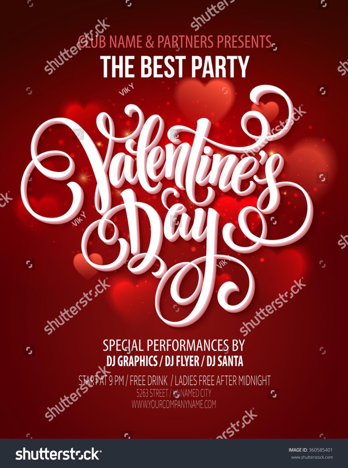 Valentines Day Party Flyer Vector Illustration Stock-Vektorgrafik ...