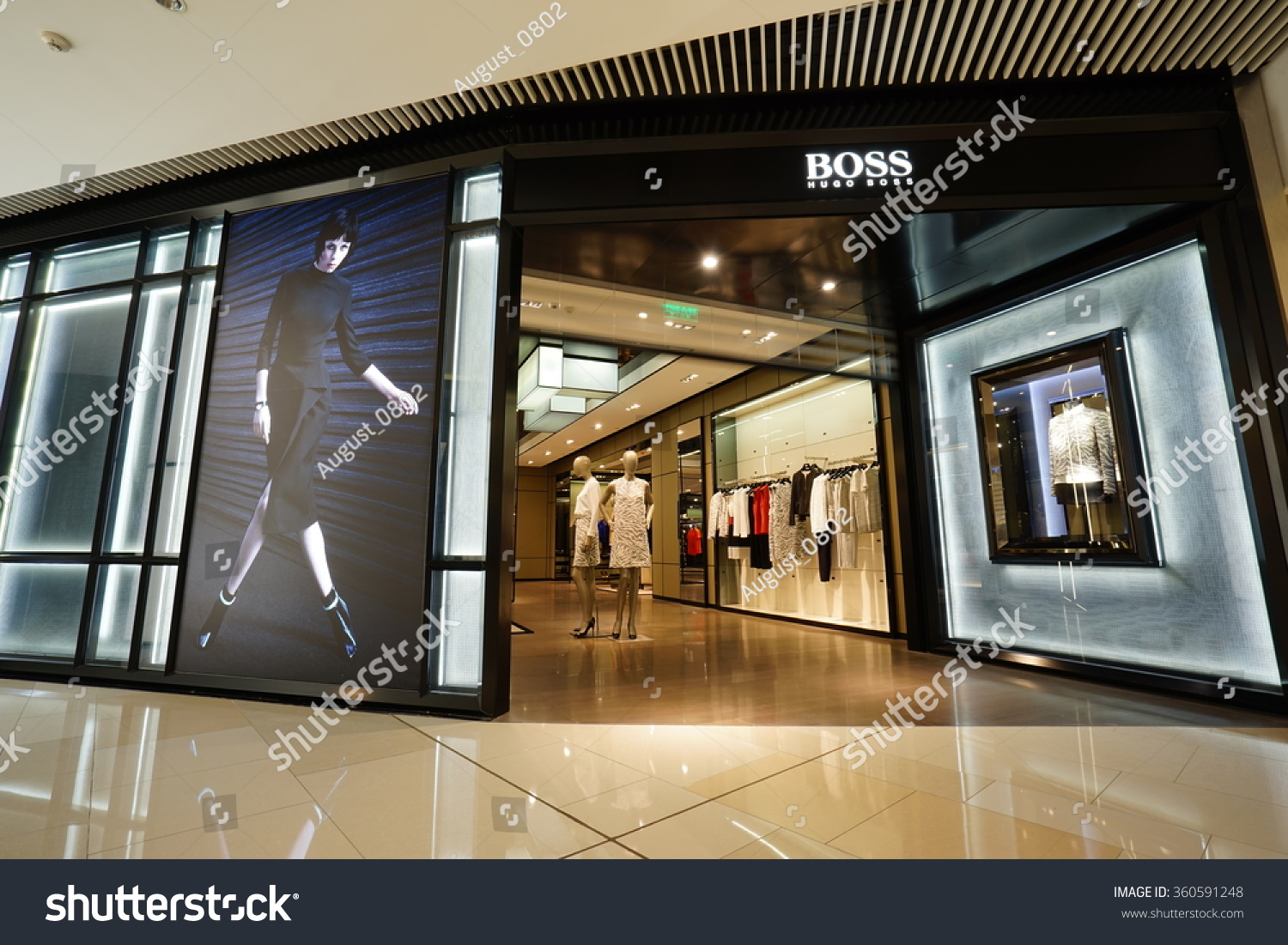 shanghai china jan92016 hugo boss store stock photo 360591248 shutterstock. Black Bedroom Furniture Sets. Home Design Ideas