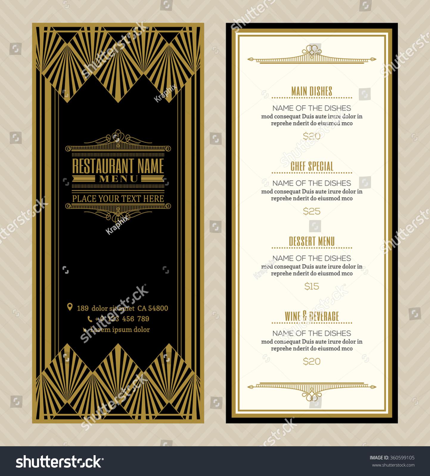 Restaurant cafe menu vector design template stock vector for Artistic cuisine menu