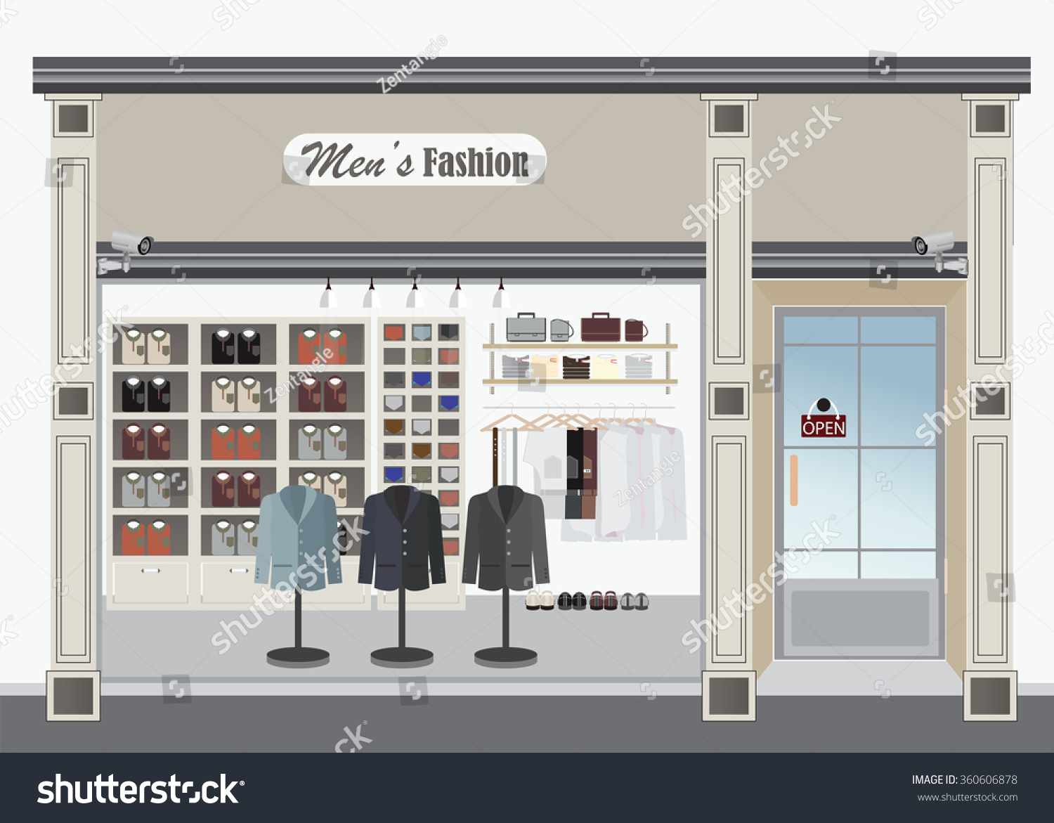 Clothing store boutique indoor mens cloths stock vector for Store building design