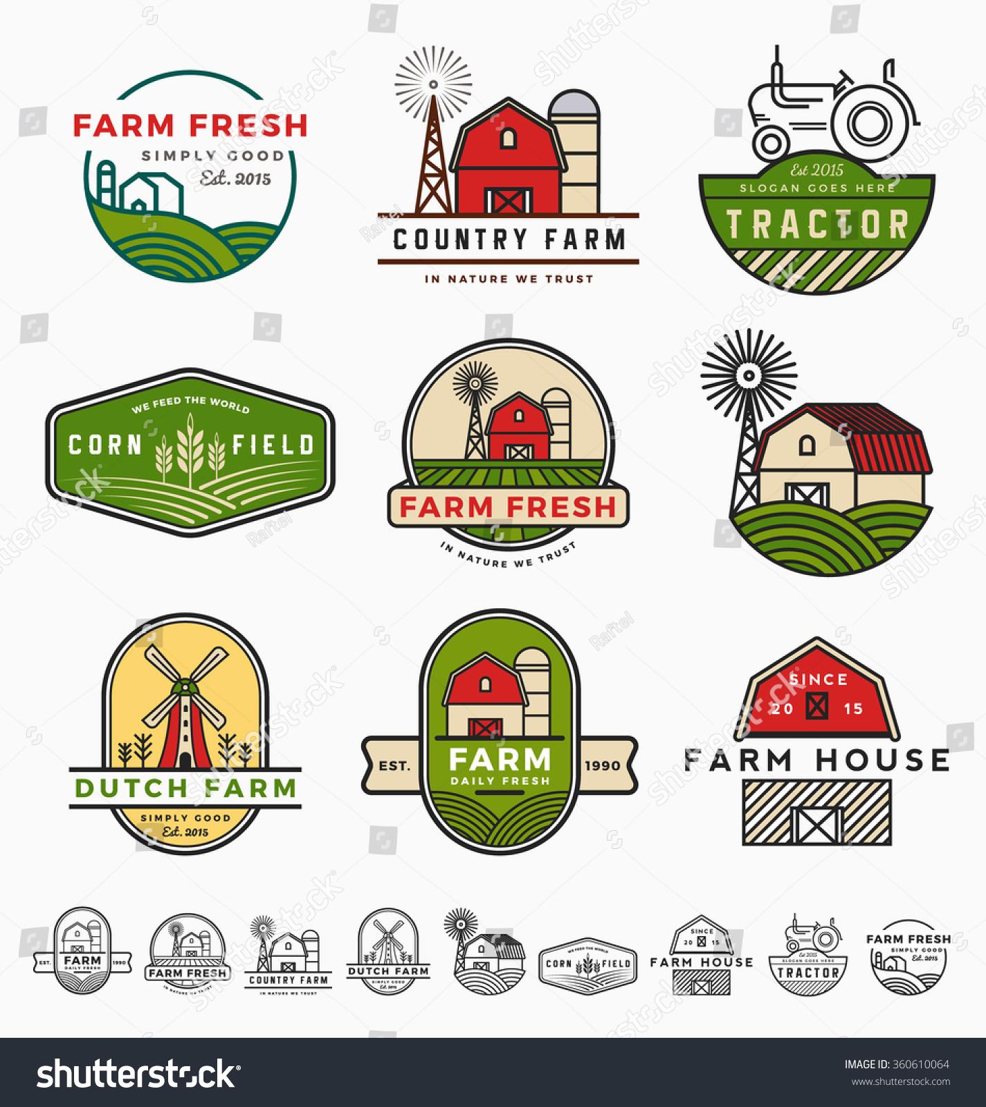 Vintage Modern Farm Logo Template Design Stock Vector