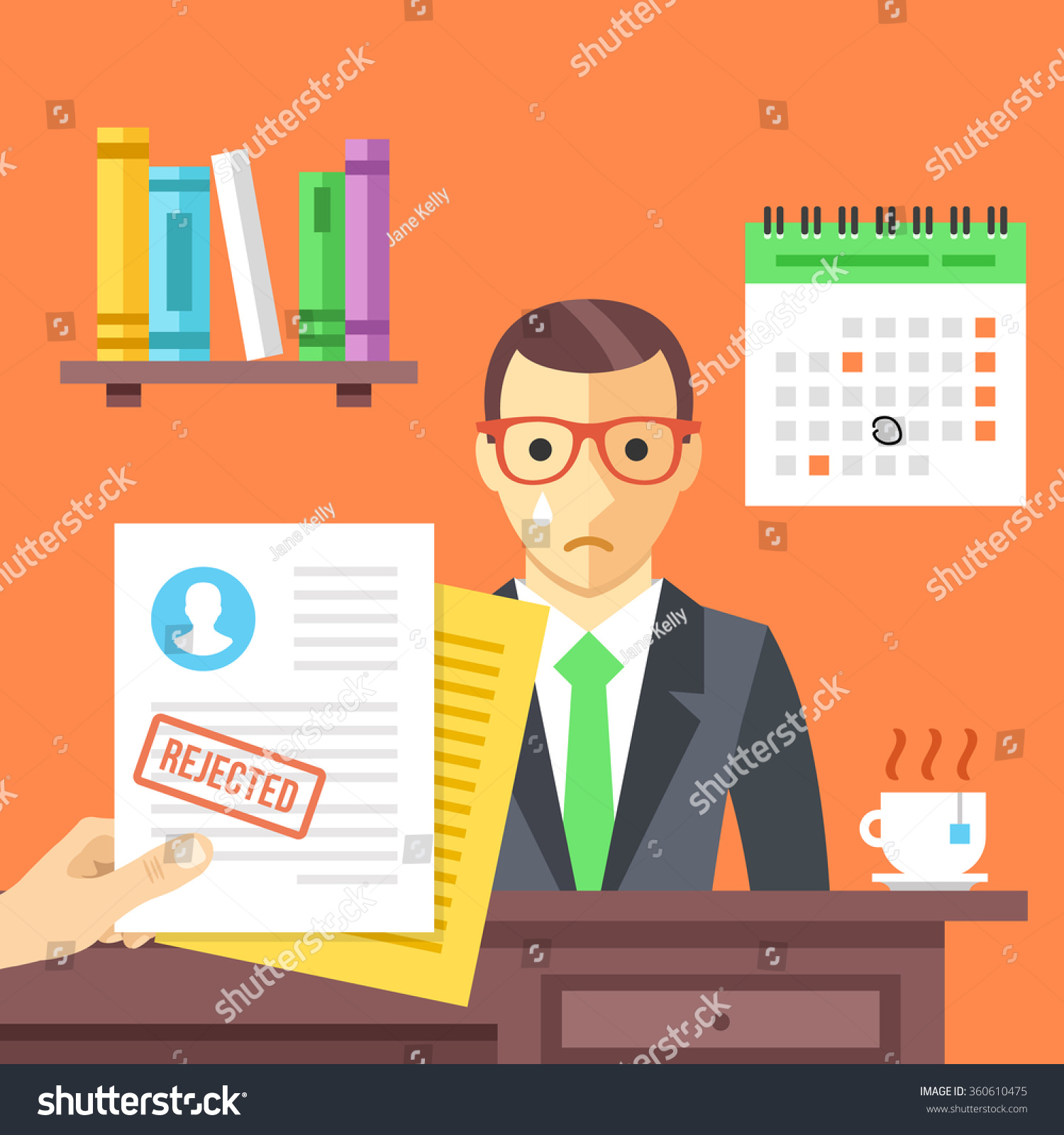 job interview rejected job application stamp stock vector job interview rejected job application a stamp sad man didn t get