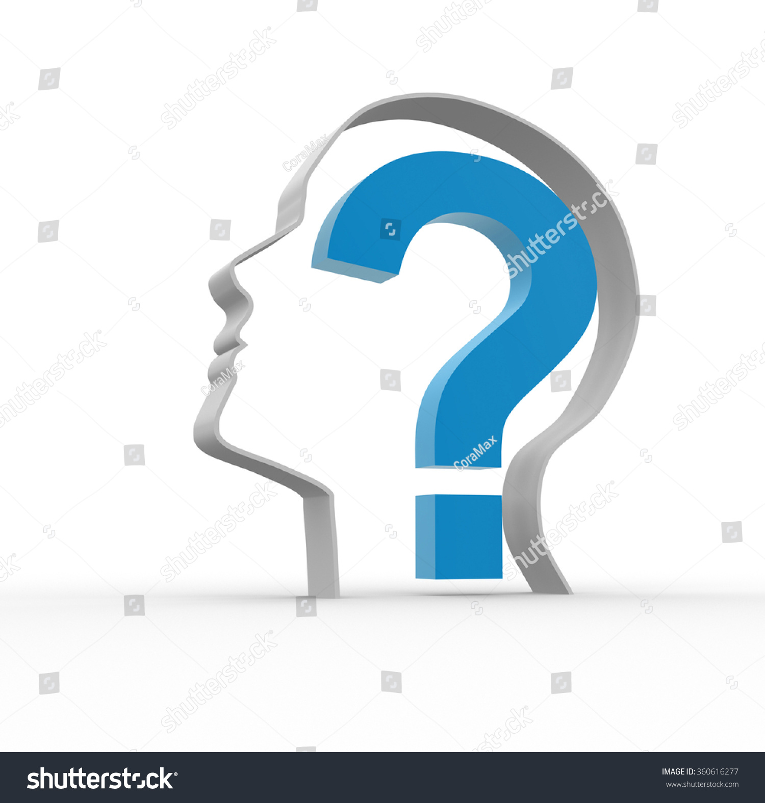 3d person with magnifying glass and question mark stock images image - Human Head With A Question Mark 3d Render Illustration