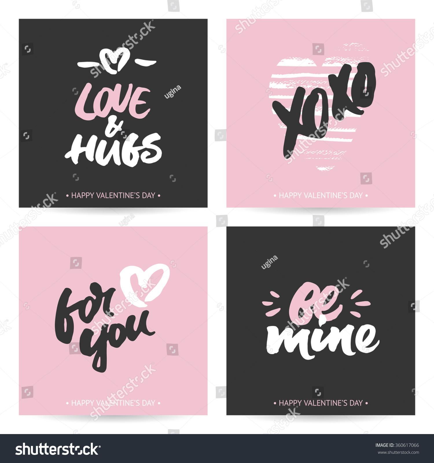 Set Love Cards Valentines Day Wedding Vector 360617066 – Dark Valentines Day Cards