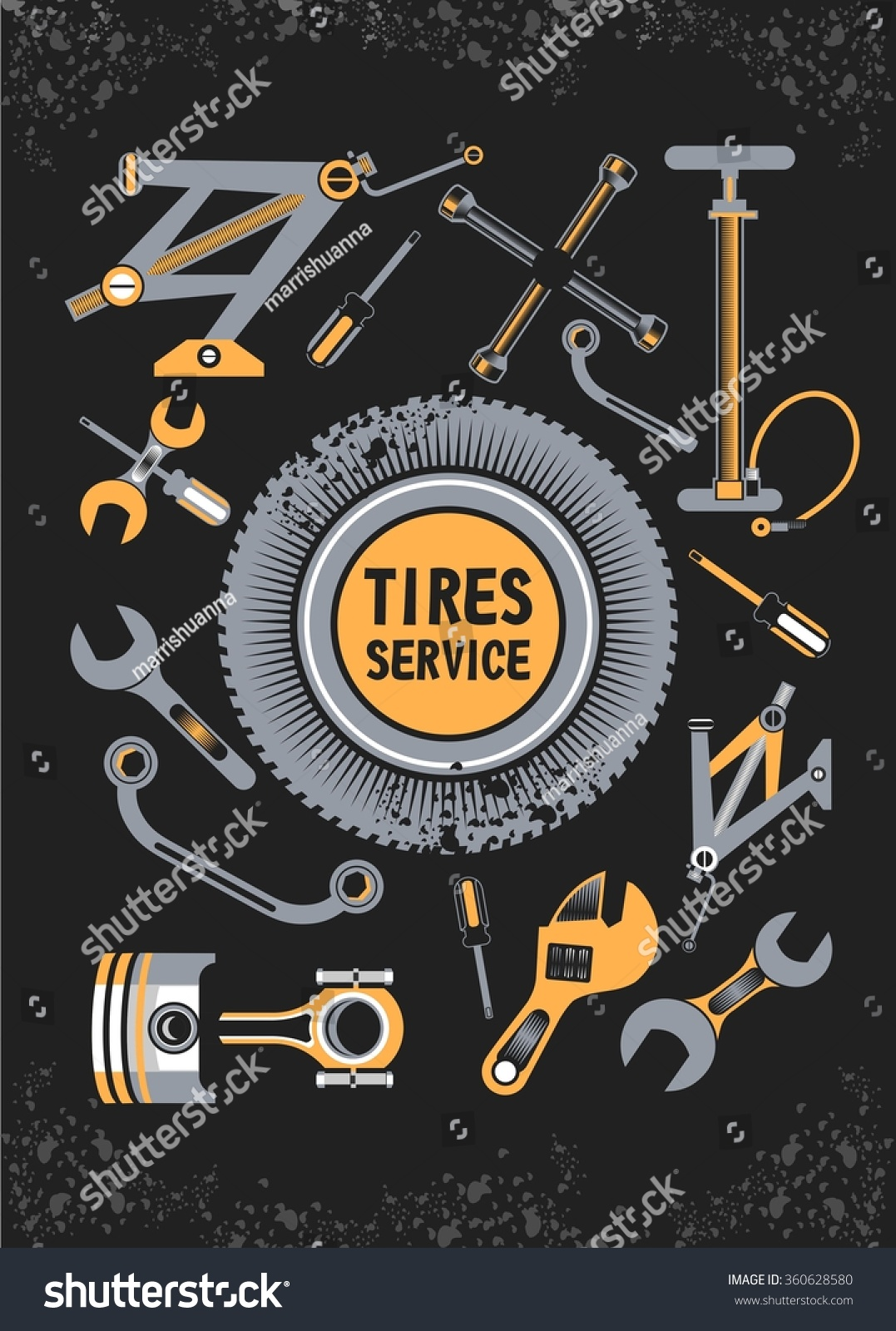 Vector Set Tools Spare Parts Car Stock Vector 360628580 - Shutterstock