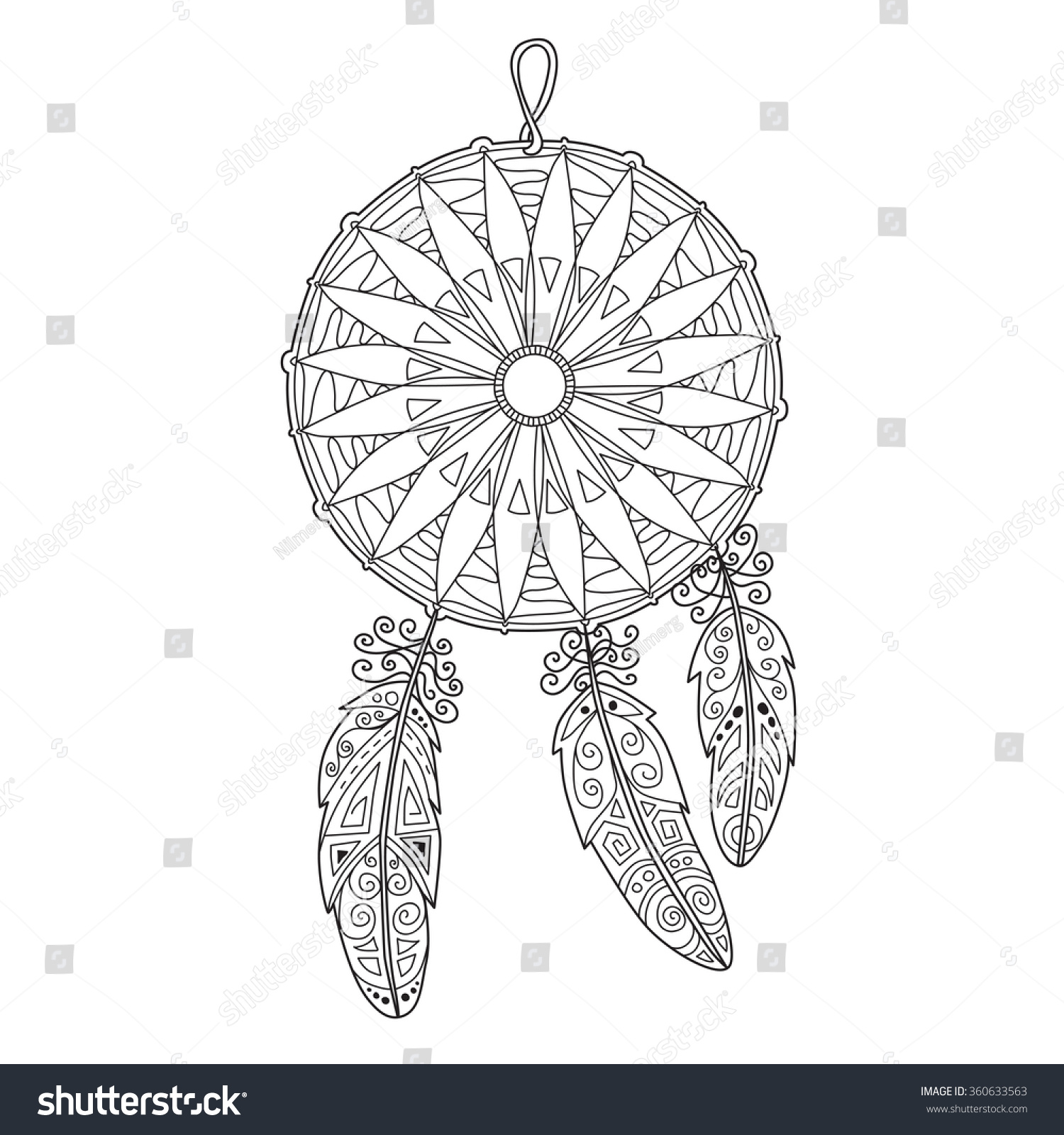 zentangle dream catcher feathers anti stock vector 360633563