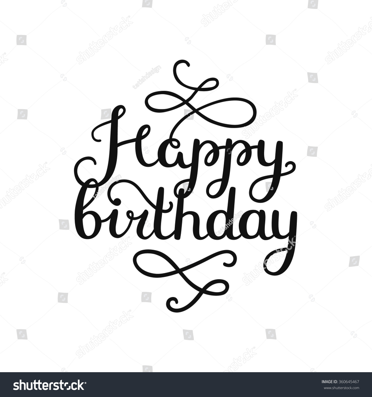 Happy Birthday Card Hand Drawn Lettering Stock Vector
