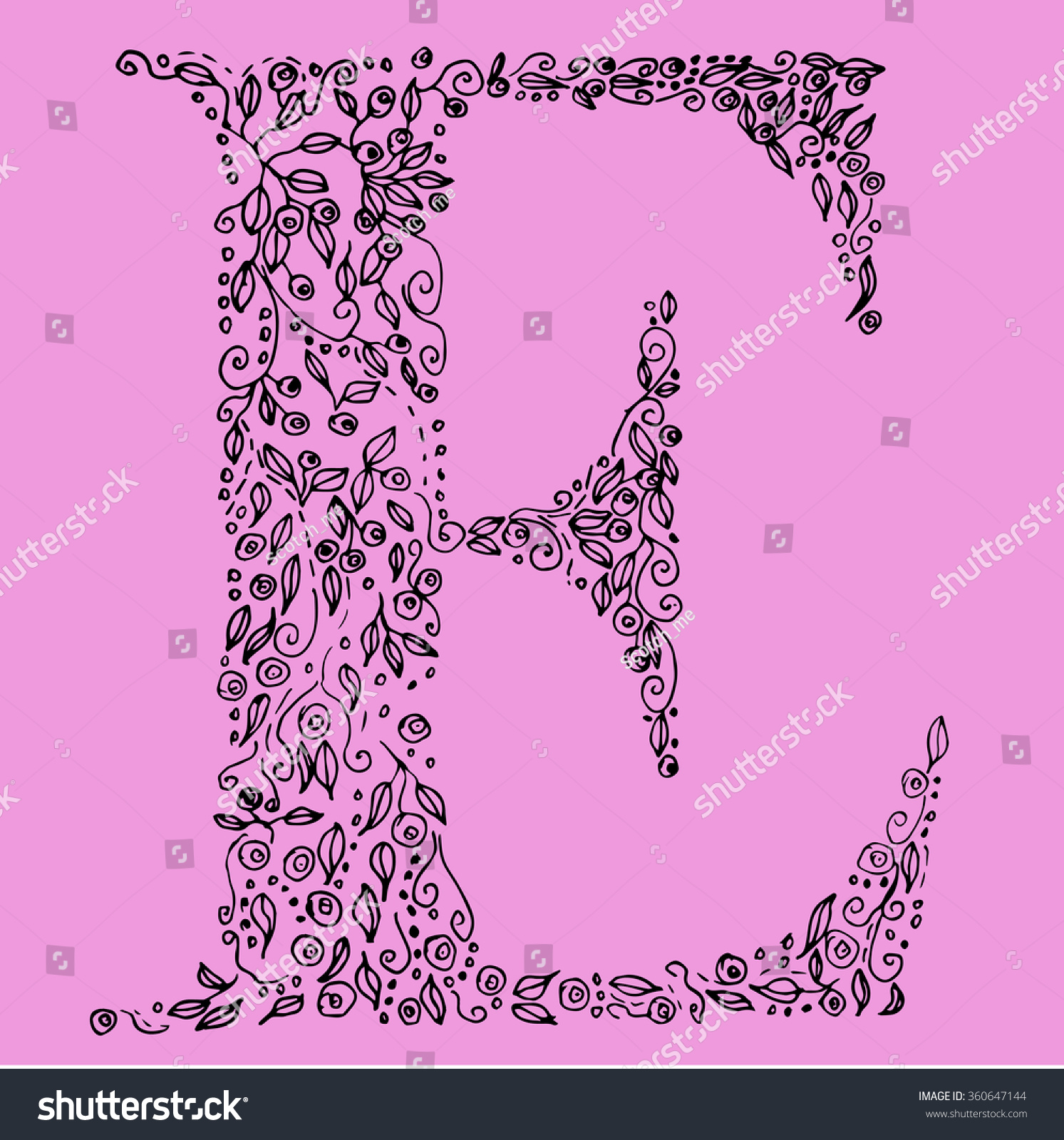 Flower Type Letter E Hand Drawn Stock Vector (Royalty Free ...