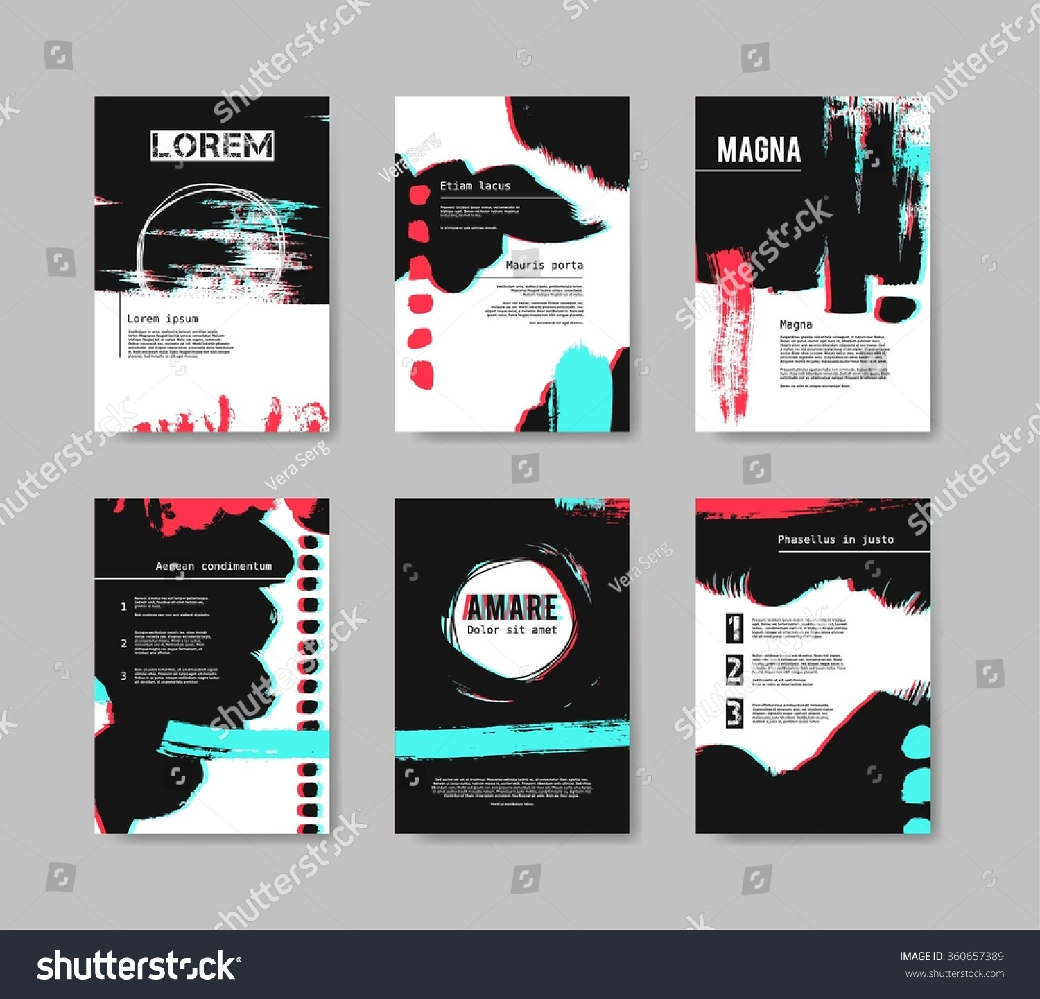 Set Of Templates For Brochure Abstract Hand Drawn Vector Underground Flyers Design