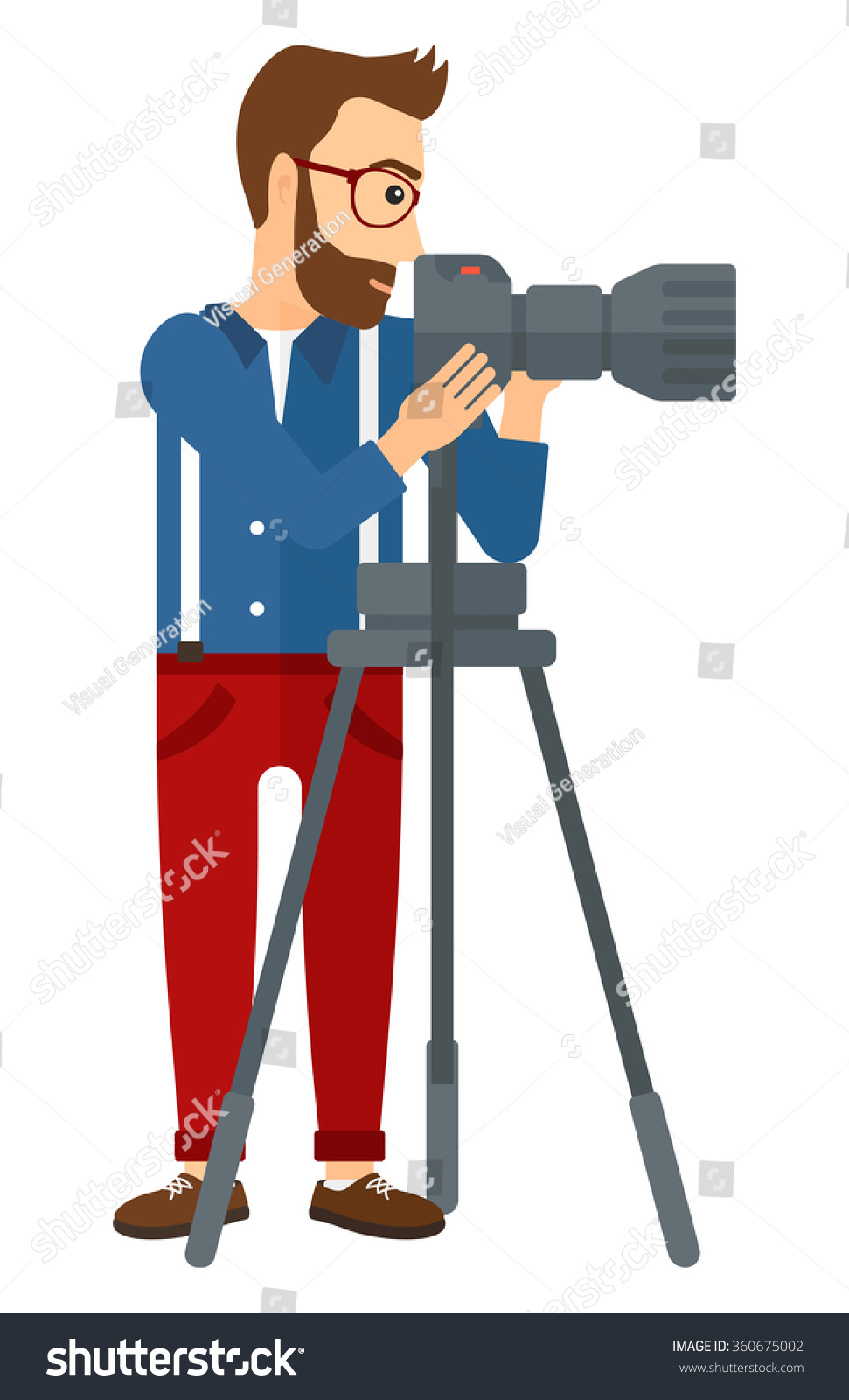 Photographer Working Camera Stock Vector Royalty Free 360675002 Of A With