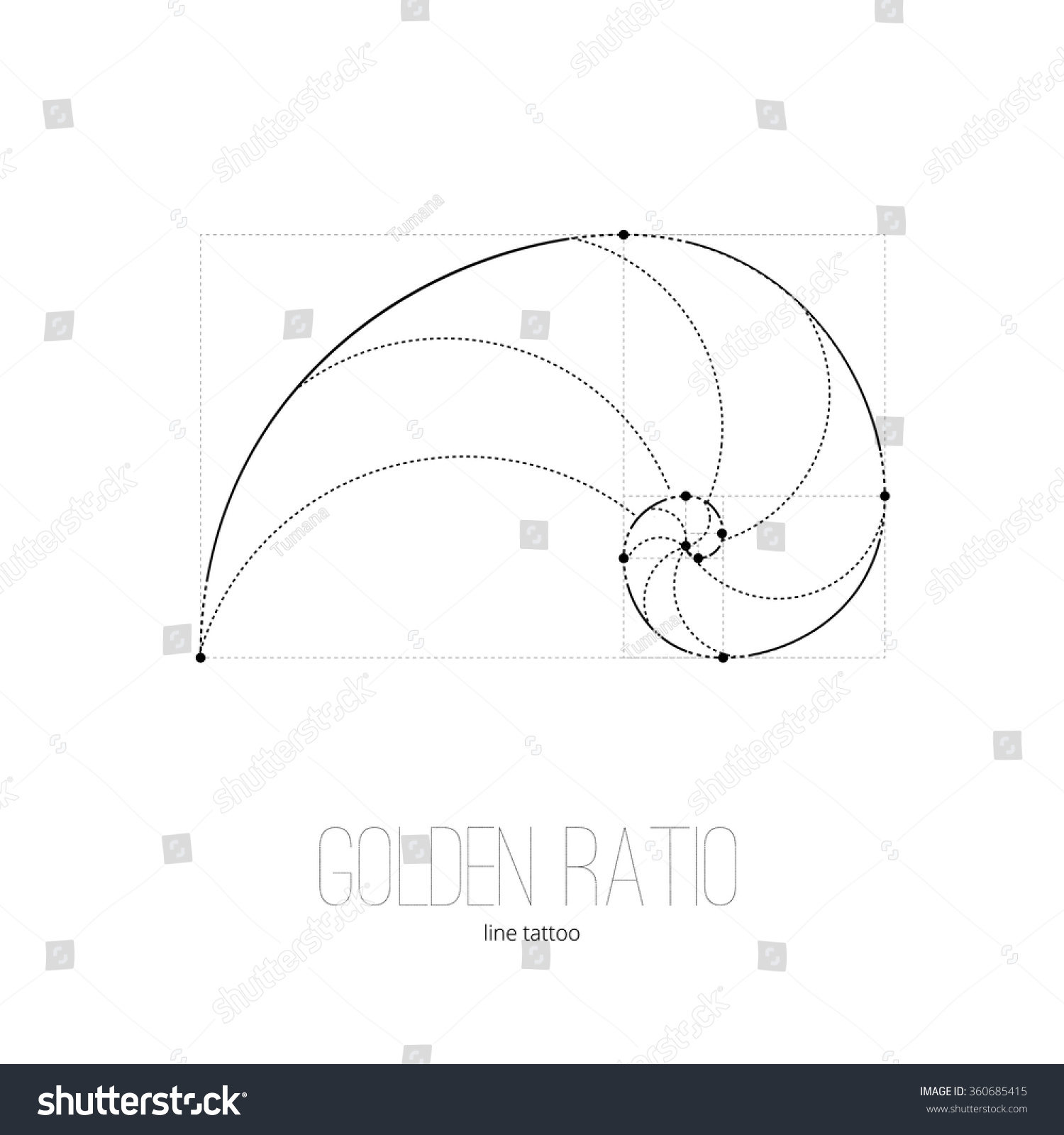 symbol golden ratio tattoo black lines stock vector 360685415 shutterstock. Black Bedroom Furniture Sets. Home Design Ideas