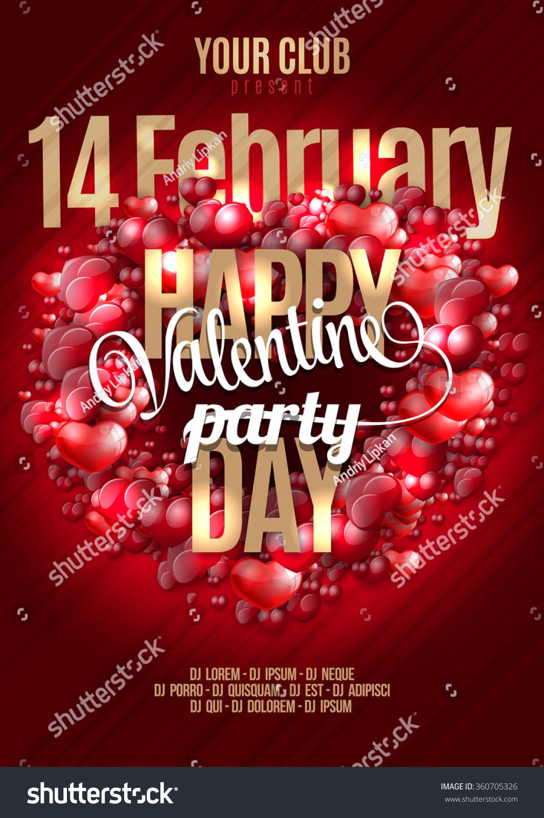 Valentines Happy Day Party Invitation Flyer Stock Vector 360705326 ...