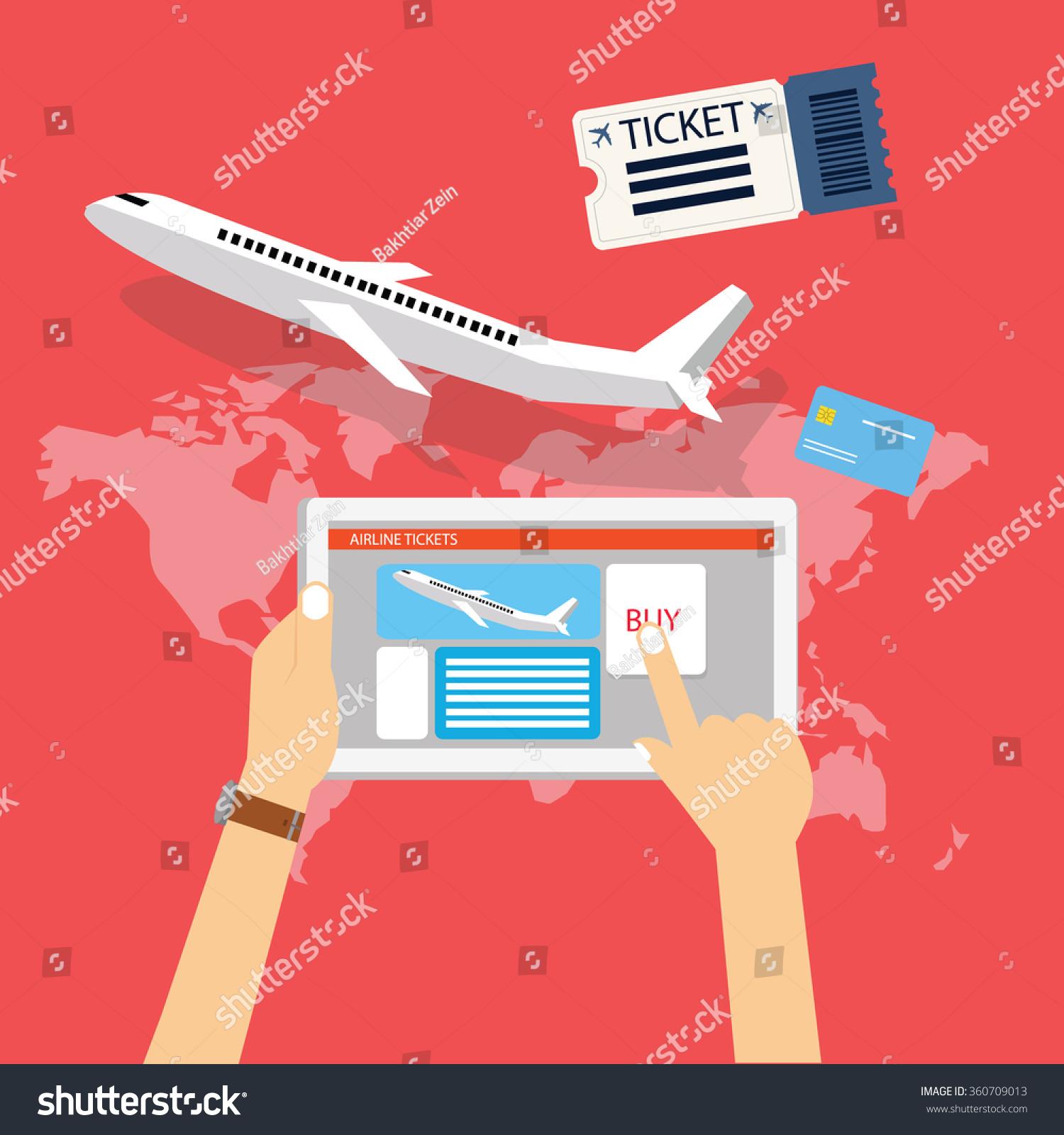 Buy Travel Tickets Online: Book Buy Plane Flight Ticket Online Stock Vector 360709013