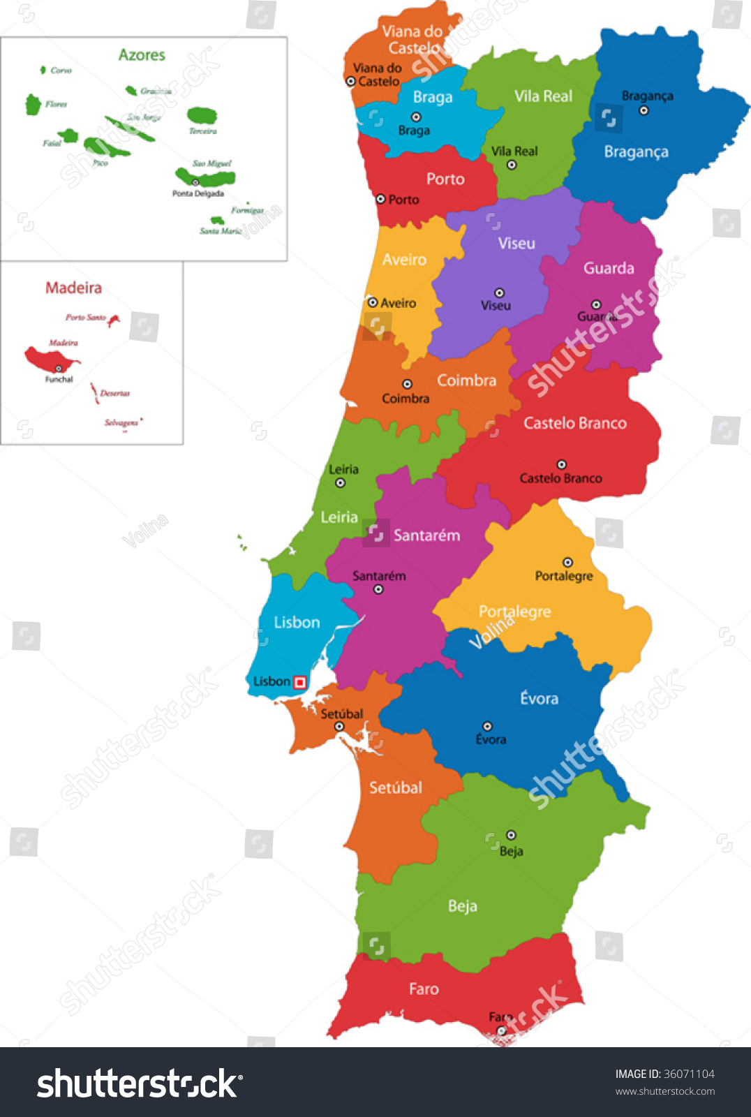 Royaltyfree Colorful Portugal Map With Regions And - Portugal map braga
