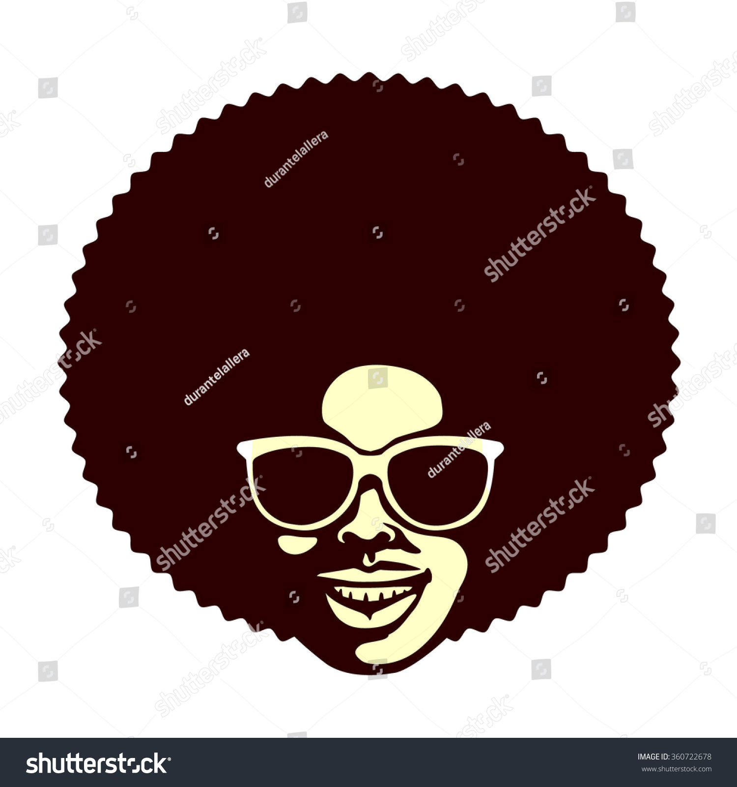 Funky Cool African Man Afro Hairstyle Stock Vector