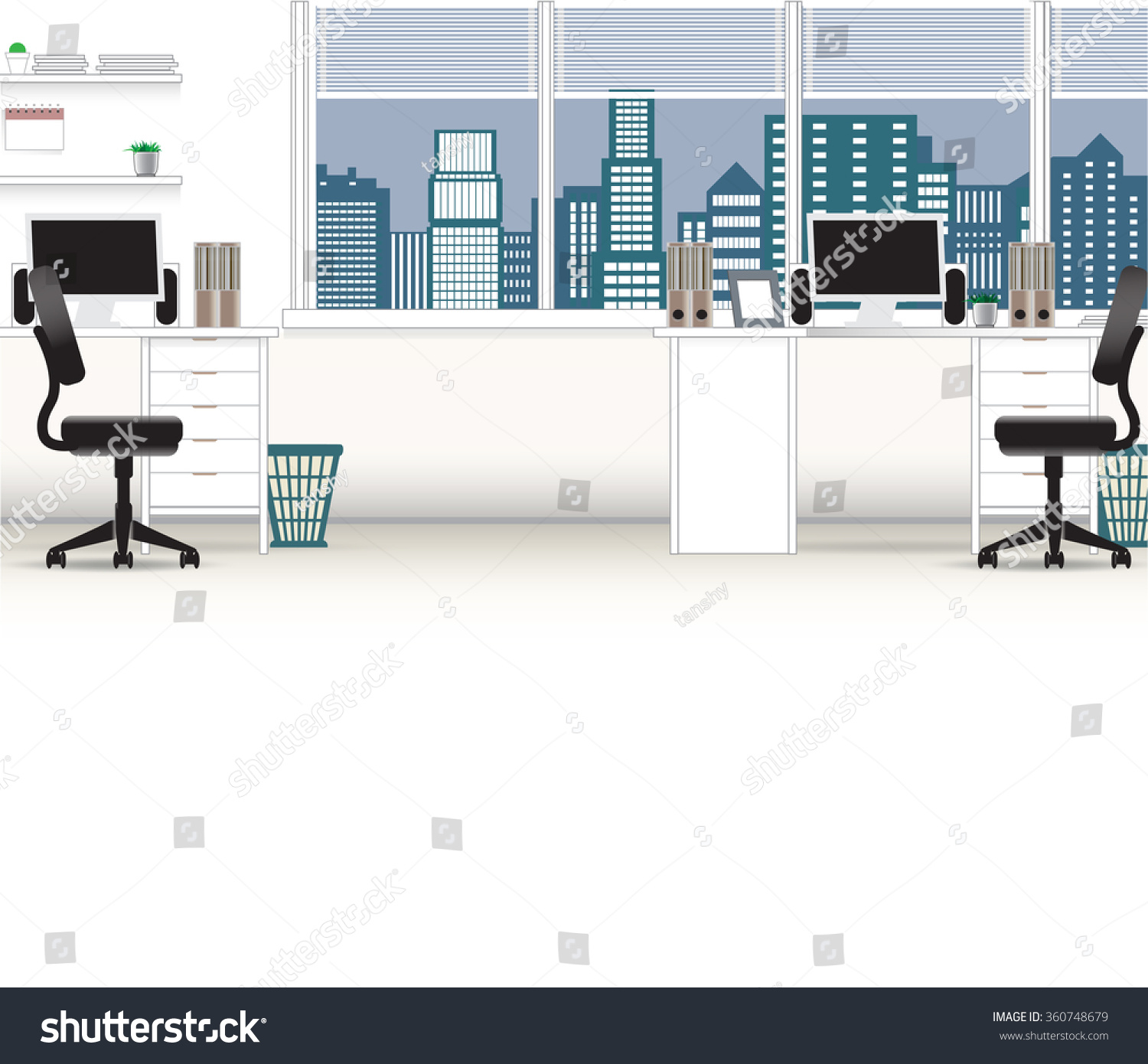 office interior vector business background tables chairs computer desk desktop window