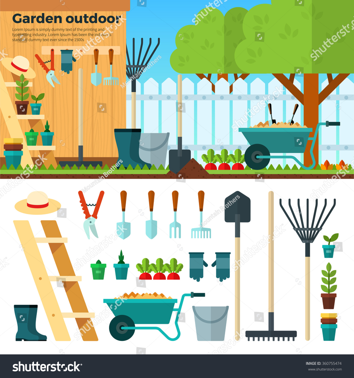 Concept Gardening Tools Working Garden On Stock Vector 360755474