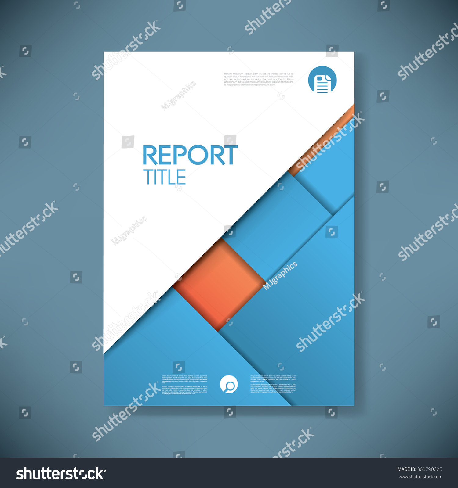 royalty business report cover template on blue  business report cover template on blue material design background brochure or presentation title page