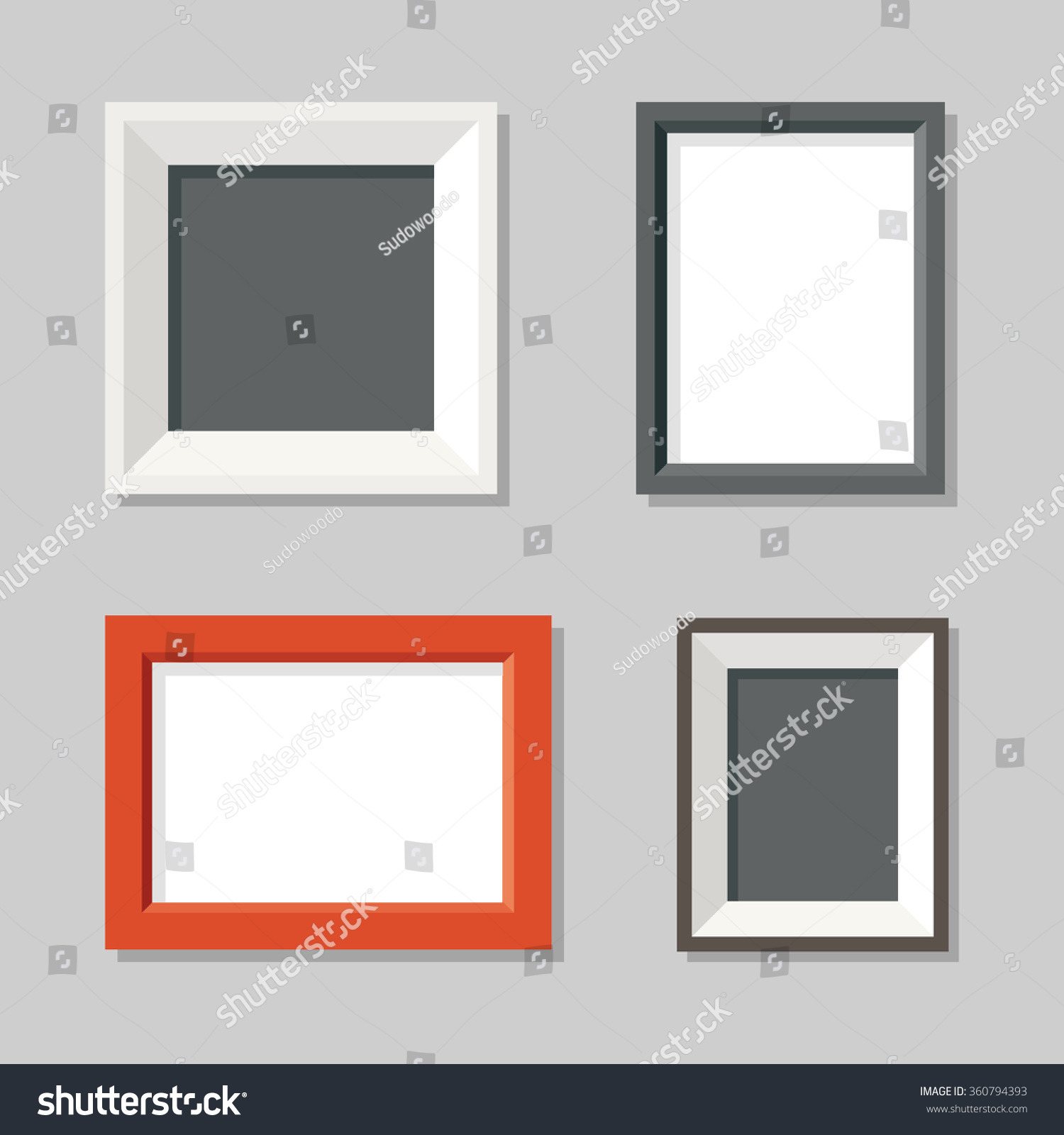 Set simple modern picture frames on stock vector 360794393 set of simple modern picture frames on wall flat vector illustration jeuxipadfo Images