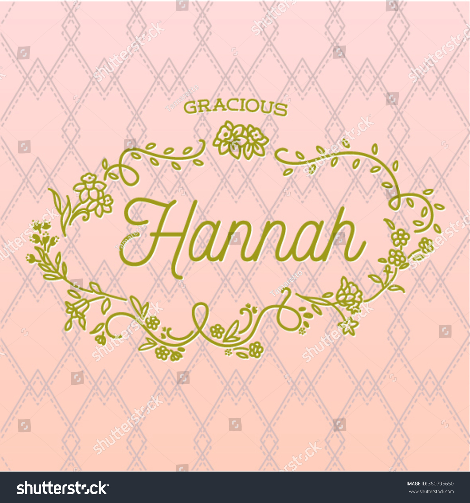 name hannah typography design with floral frame on