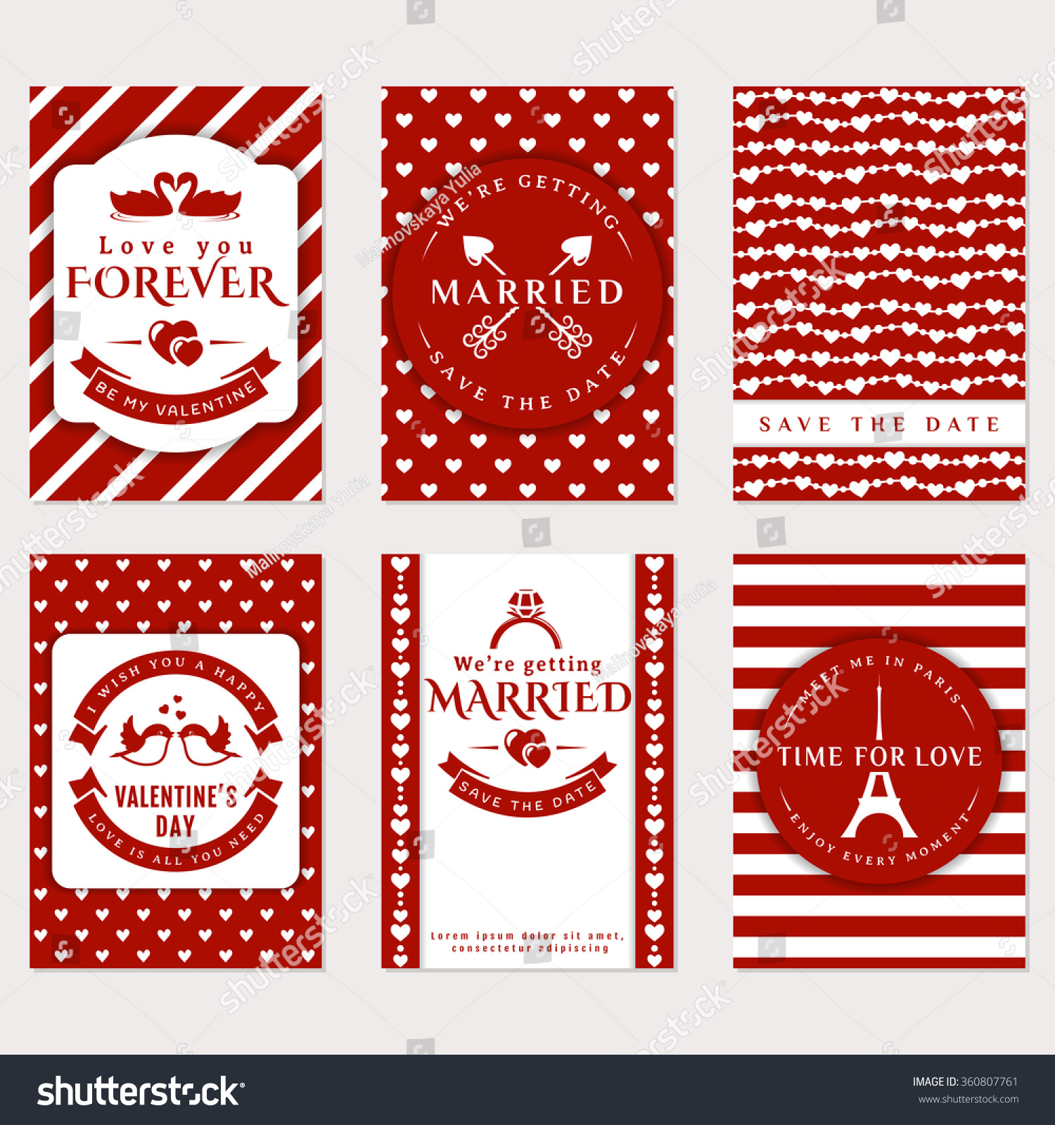 Collection Cute Vector Banners Romantic Flyers Stock Vector (Royalty ...