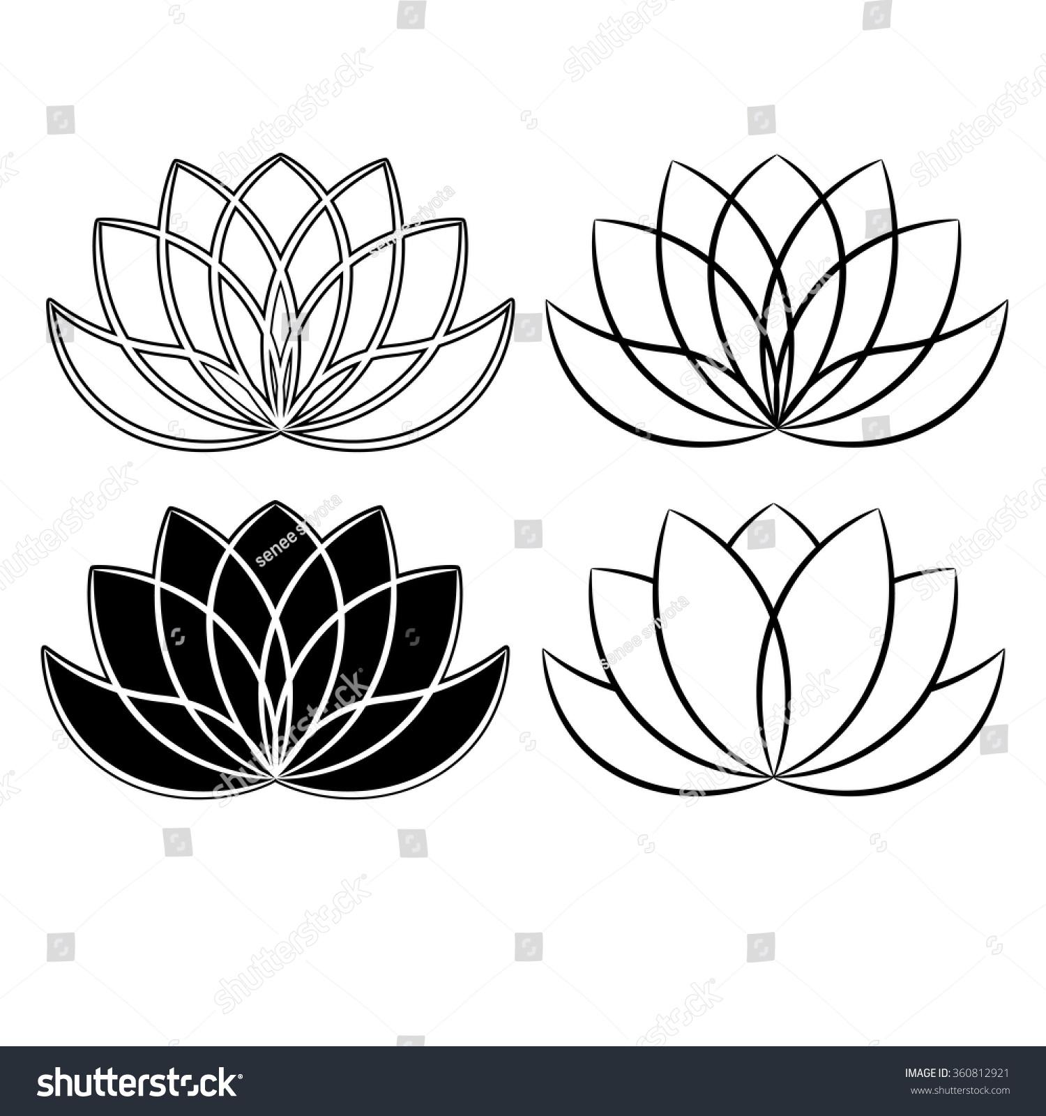 Beautiful Lotus Flower Line Illustration Vector Stock Vector